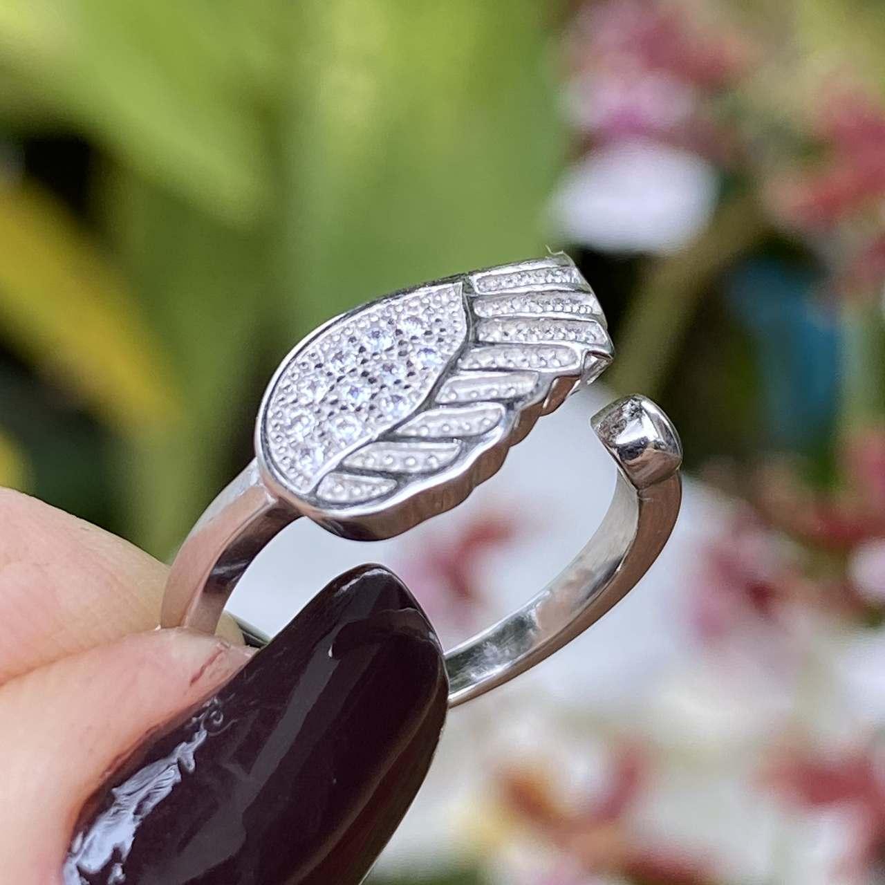 Anel de Prata 925 Falange Asa Cravejado Cristal