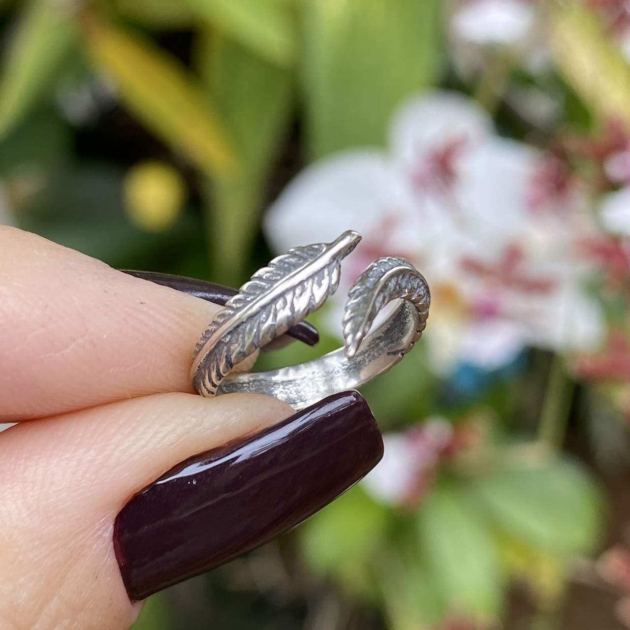 Anel de Prata 925 Falange Pena Boho Envelhecido