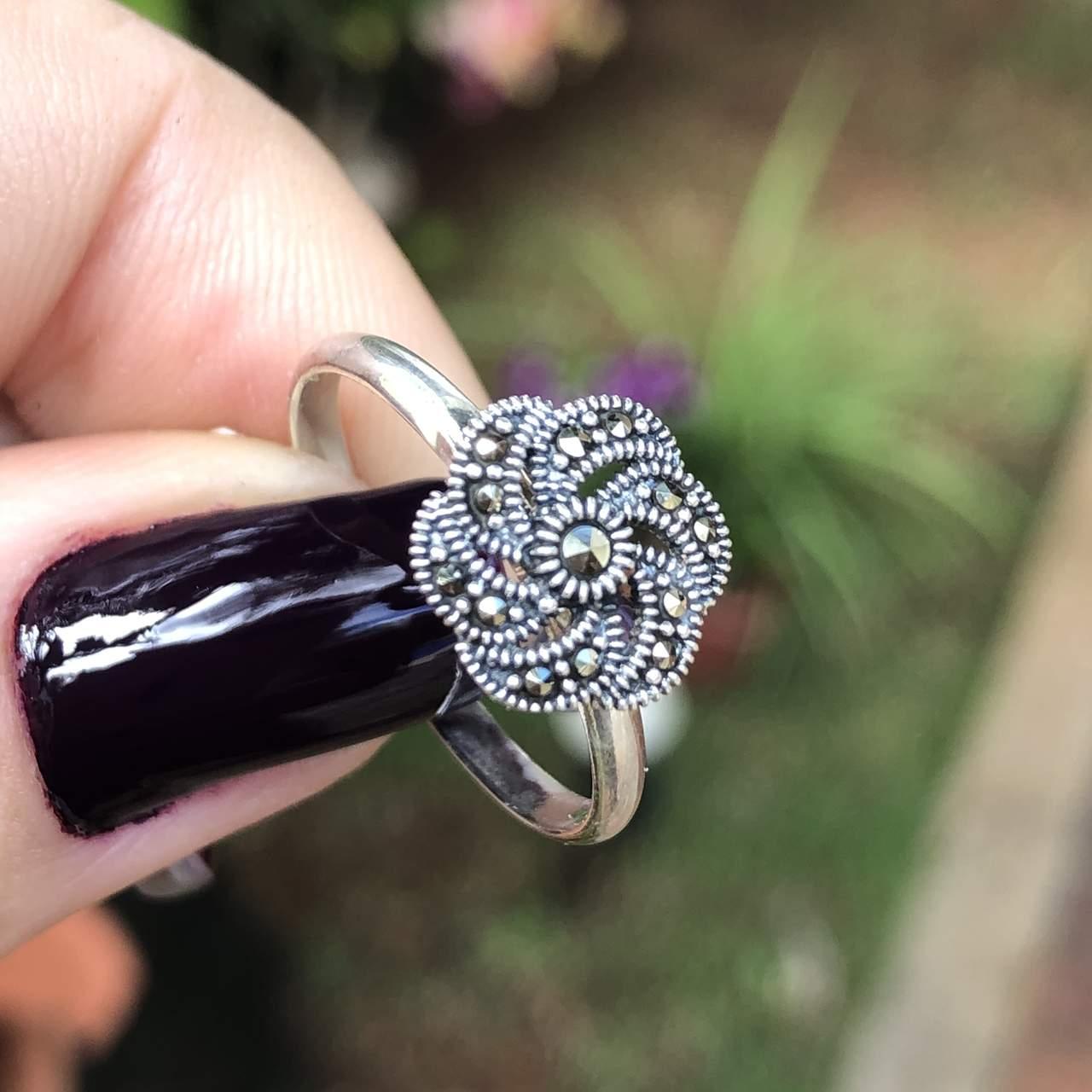 Anel de Prata 925 flor marcassita