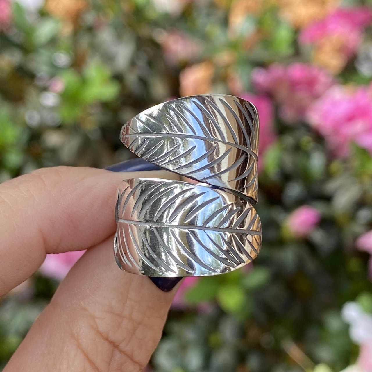Anel de Prata 925 Folhas Envelhecido