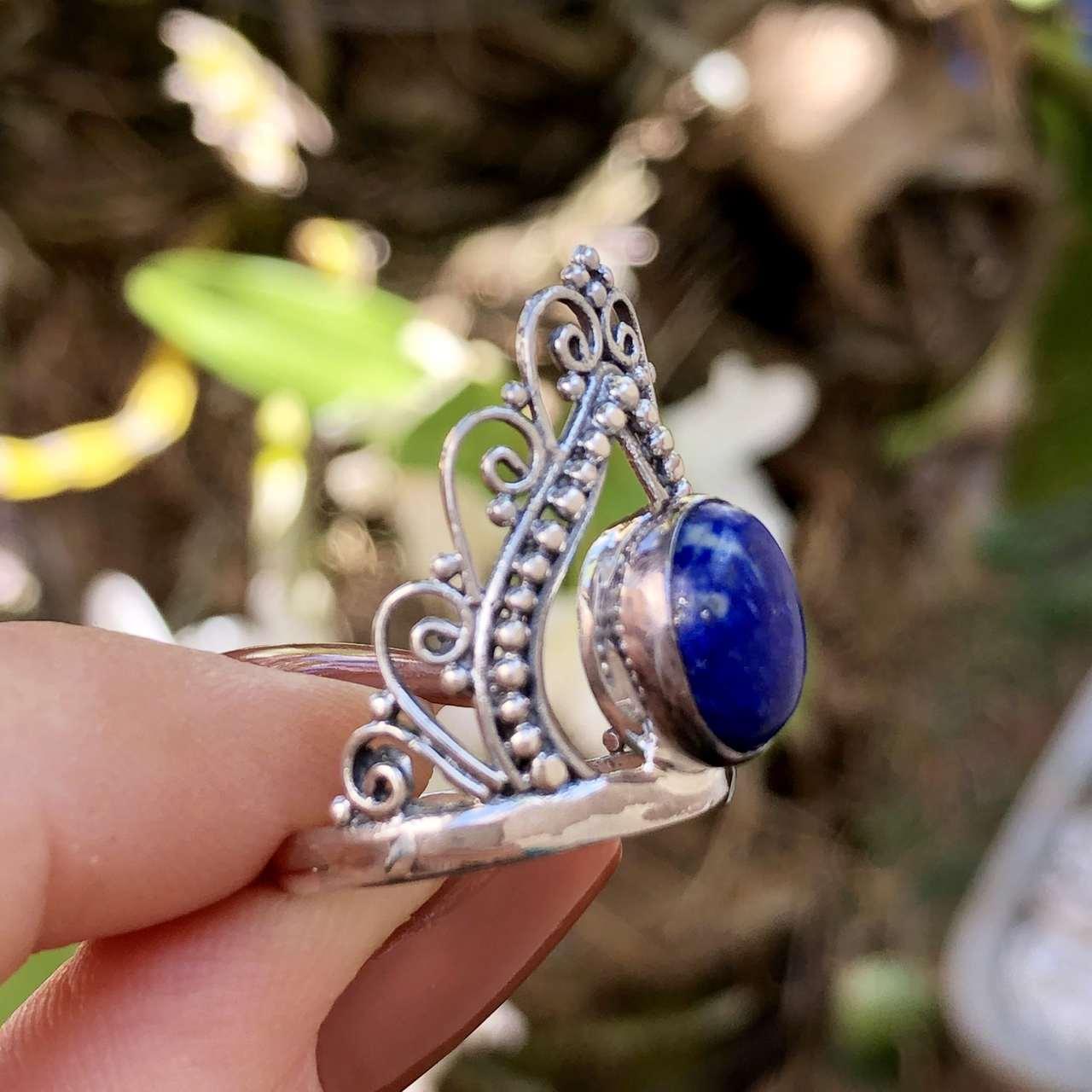 Anel de Prata 925 Lápis Lazuli Coroa