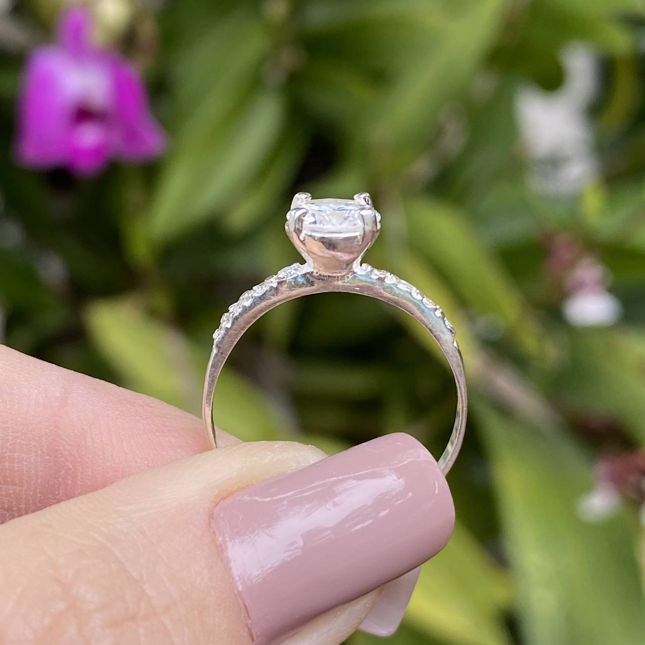 Anel de Prata 925 Solitário 1 Fileira Cravejado Cristal G