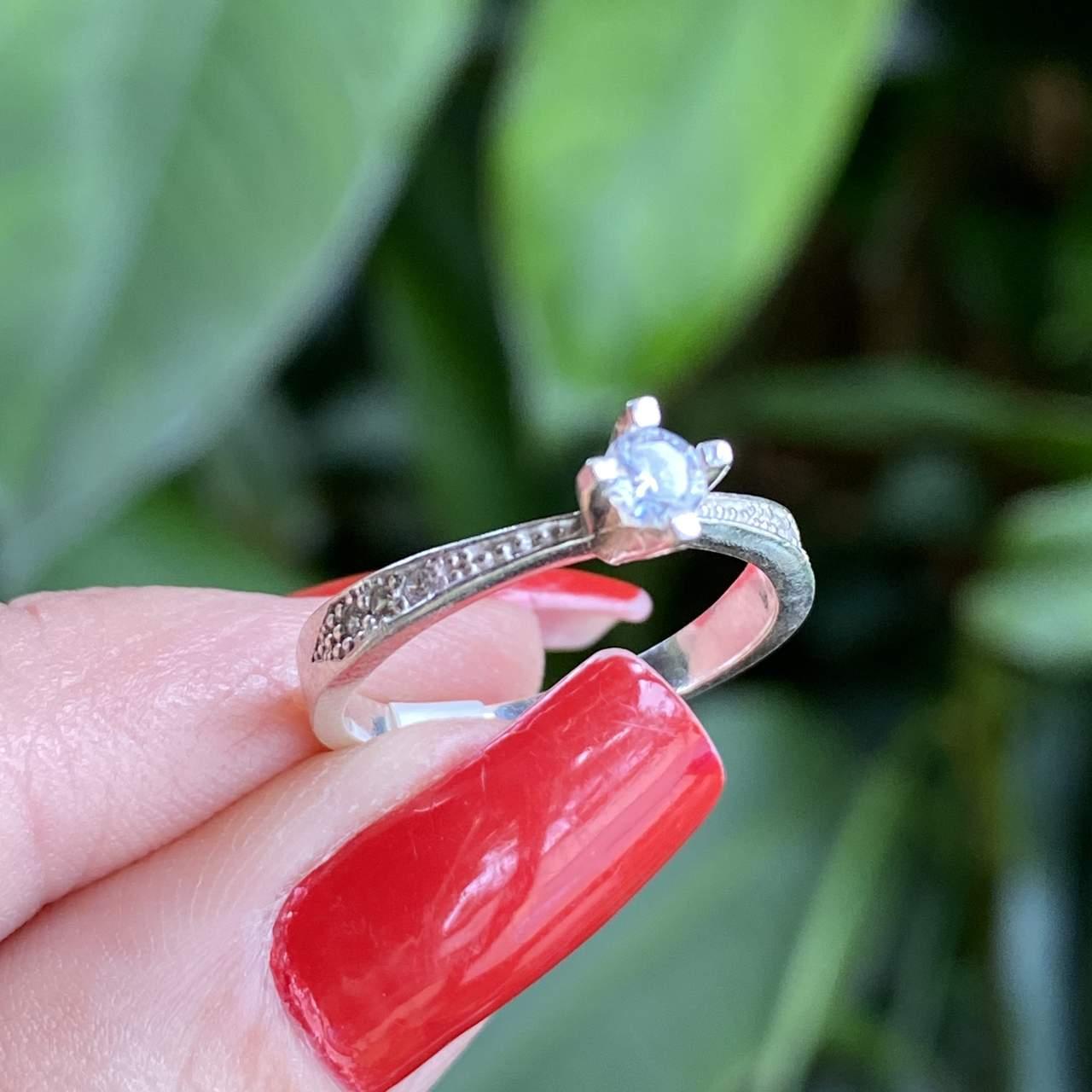 Anel de Prata 925 Solitário 1 Fileira Cravejado Cristal P