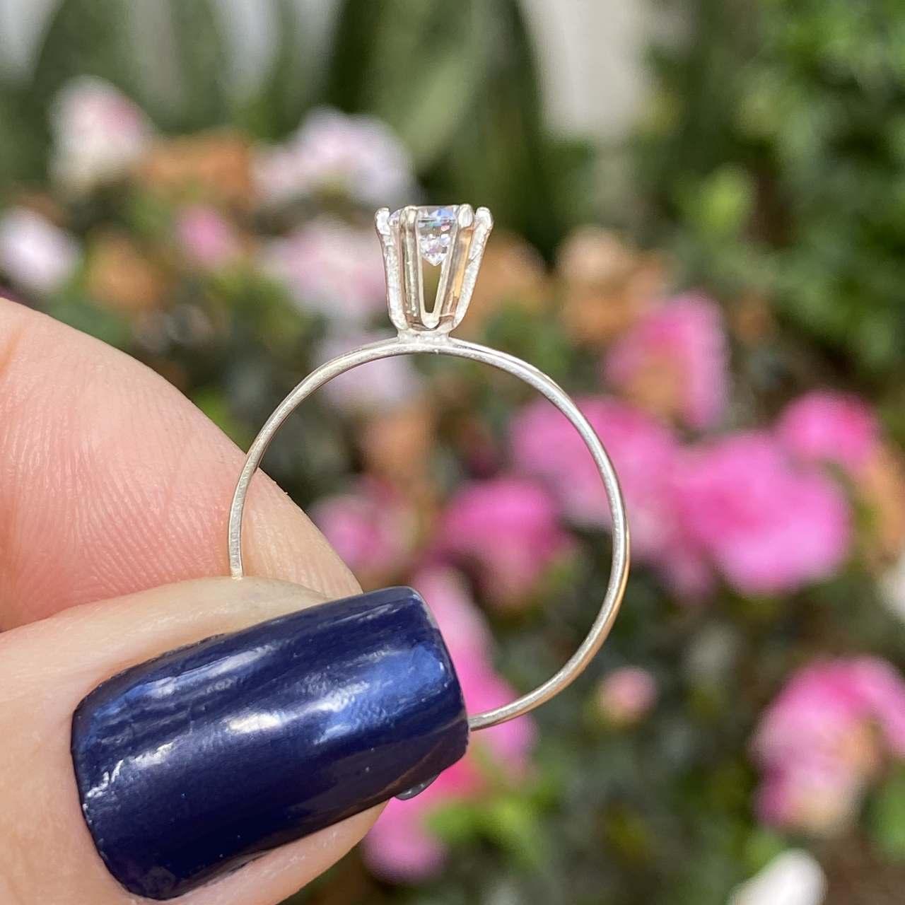 Anel de Prata 925 Solitário Delicado Zircônia Cristal