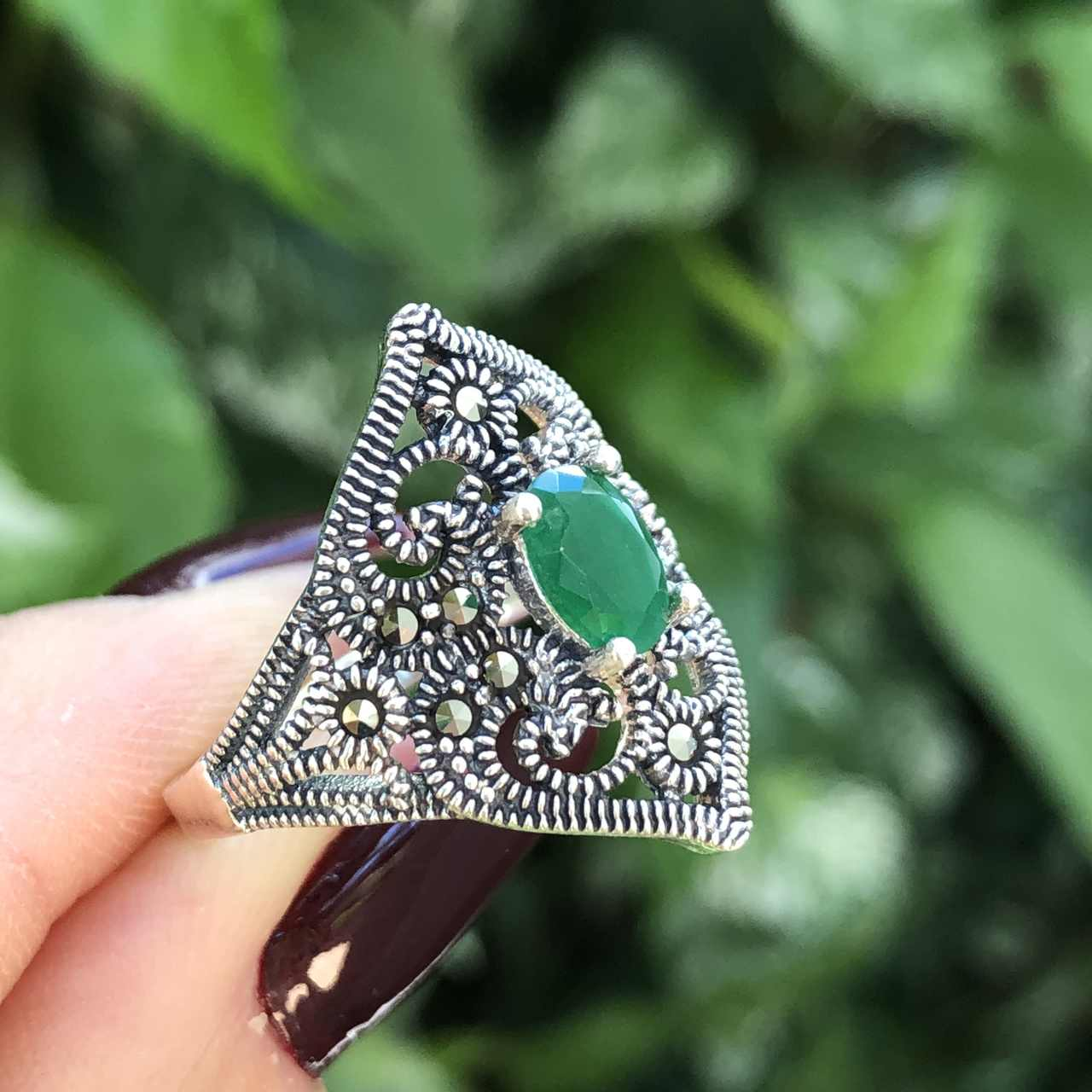 Anel de Prata 925 Triangular Ágata Verde e Marcassita
