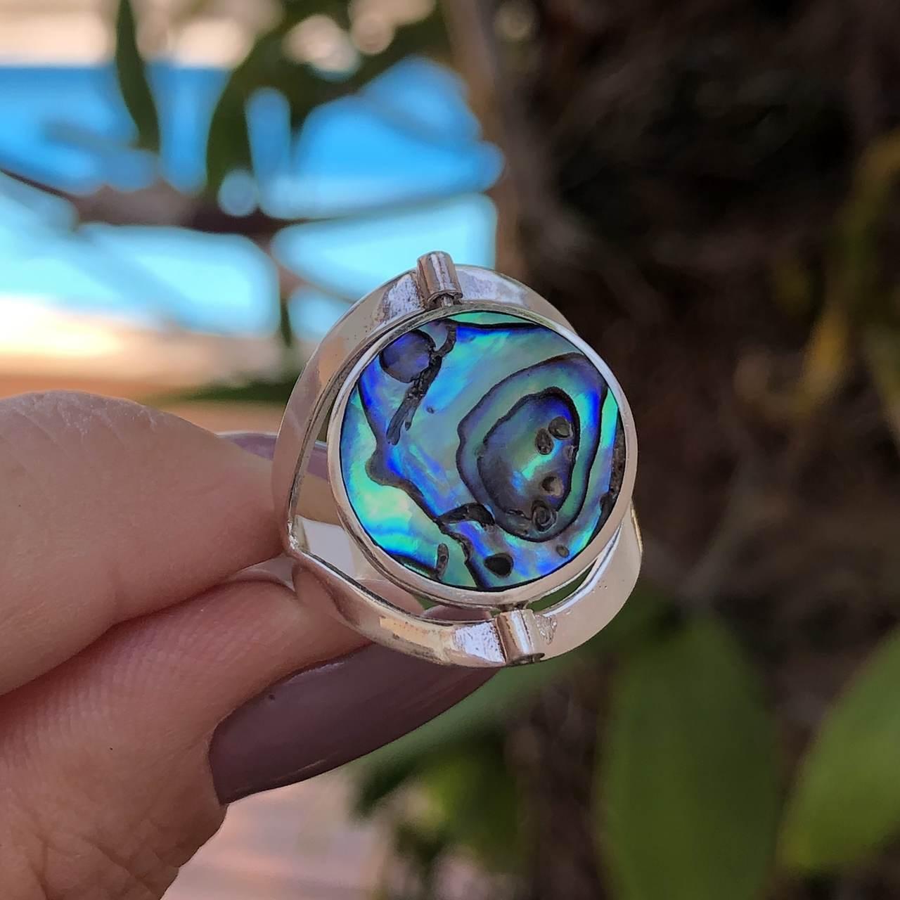 Anel e Prata 925 Dupla Face Abalone e Árvore da Vida