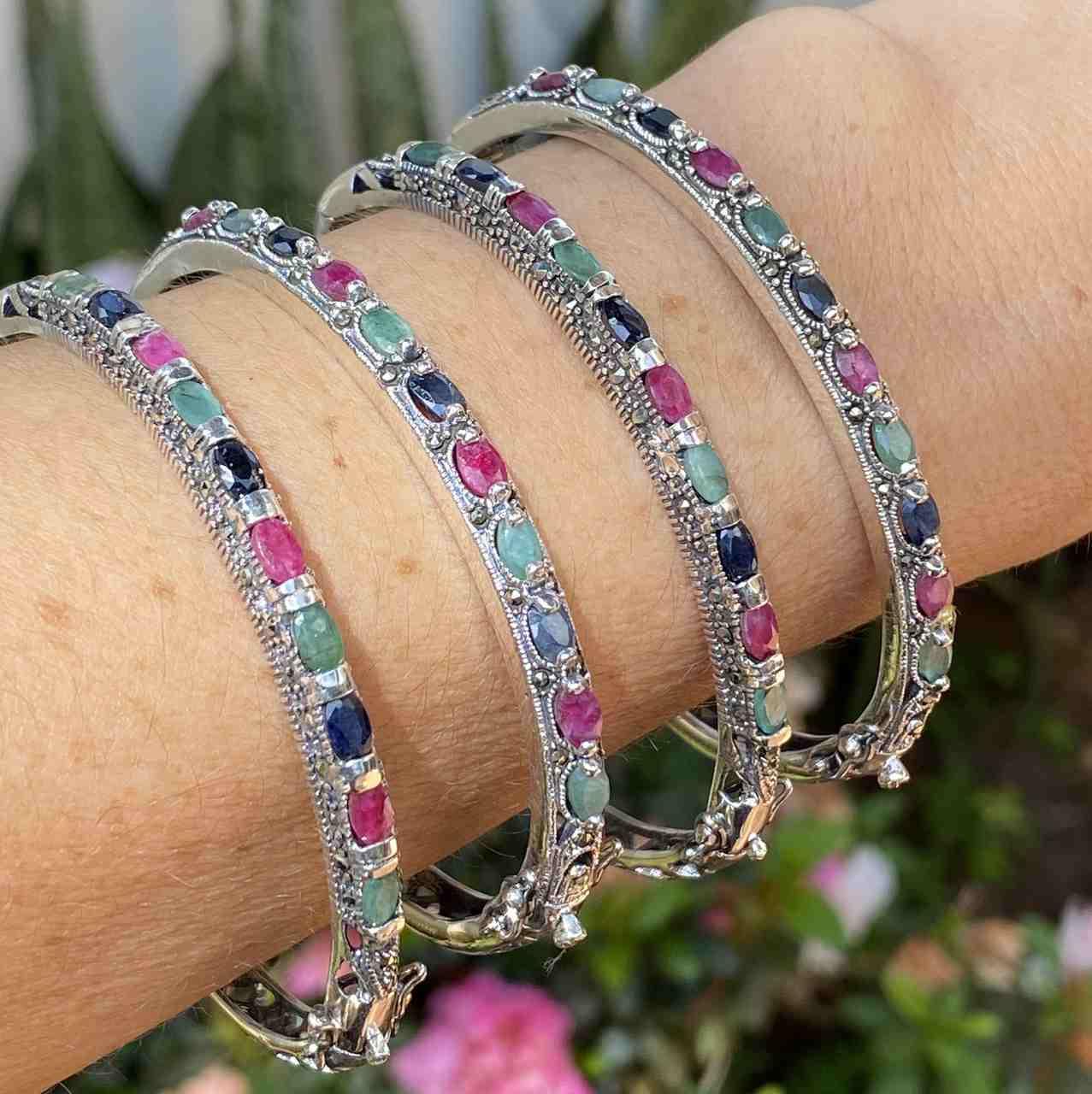 Bracelete de Prata 925 Bali Multicoloridos com Marcassita