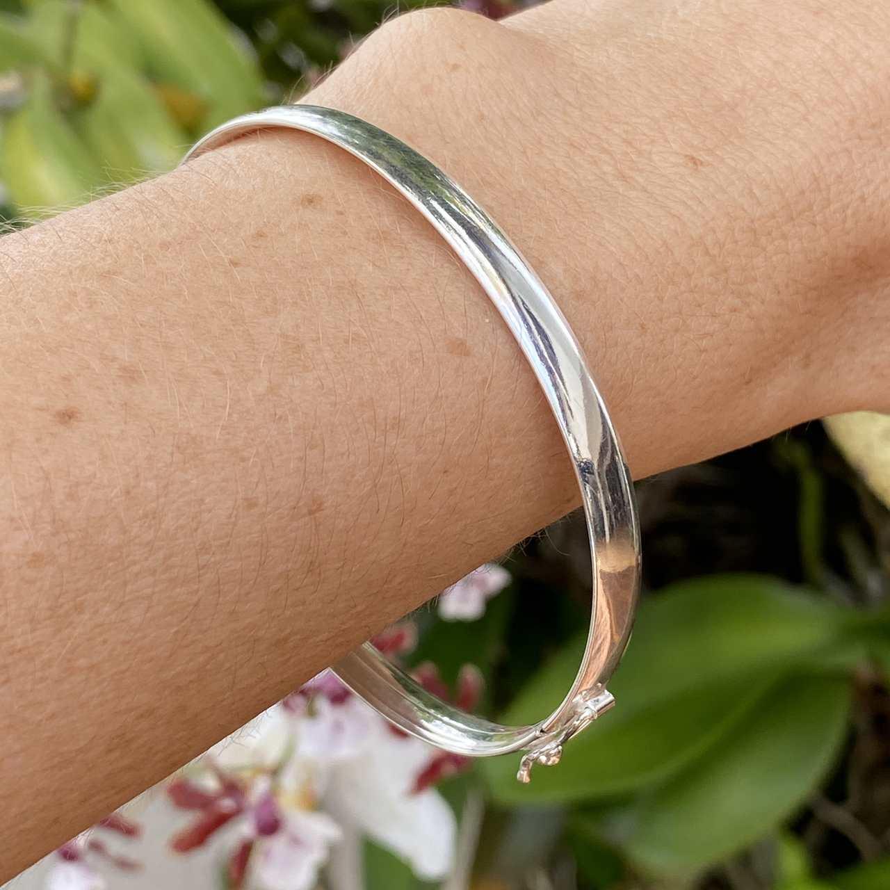 Bracelete de Prata 925 Fio Quadrado 6mm Fecho Trava