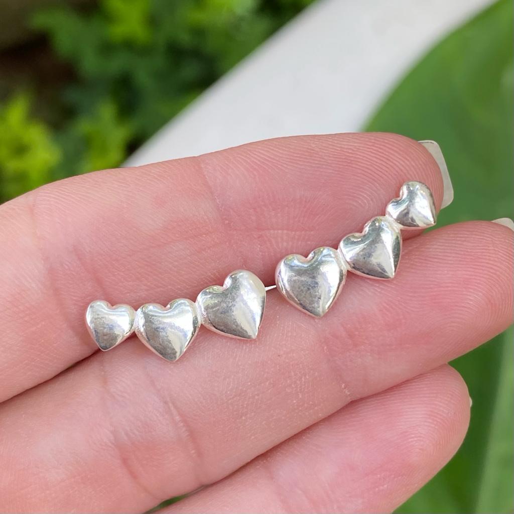 Brinco de Prata 925 3 Corações Ear-cuff