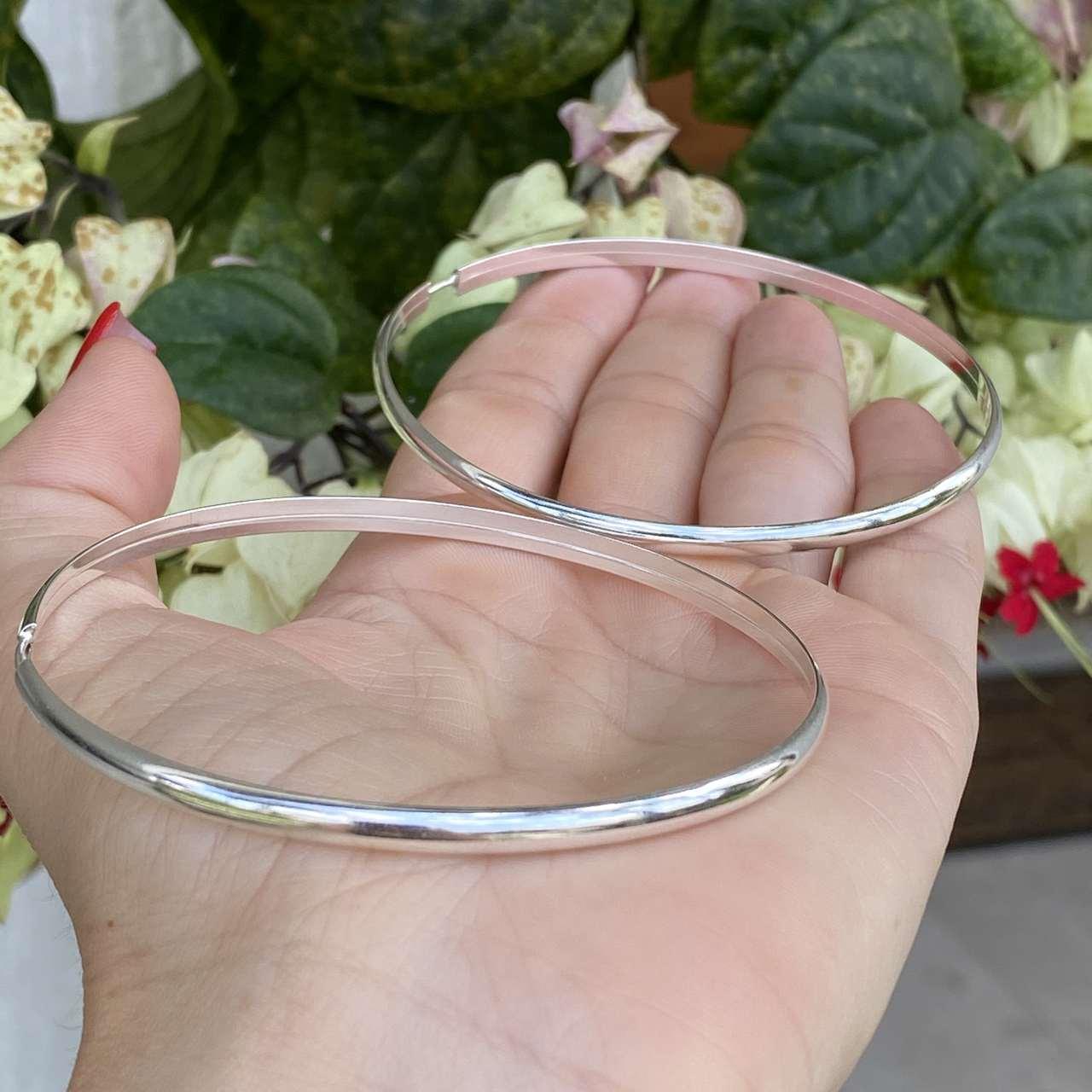 Brinco de Prata 925 Argola Fio Roliço 7cm e 4mm Espessura