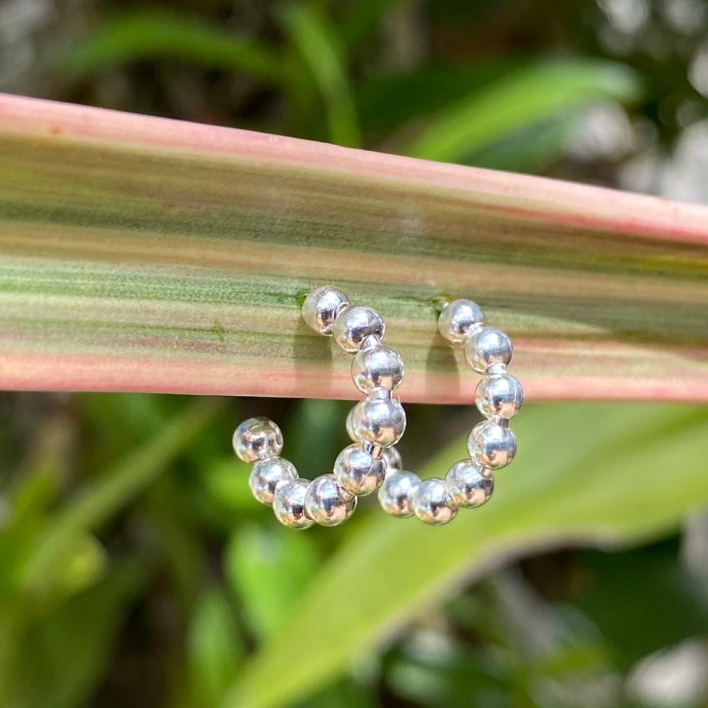 Brinco de Prata 925 Argolinha Bolinha c/ Tarraxa 1,4cm