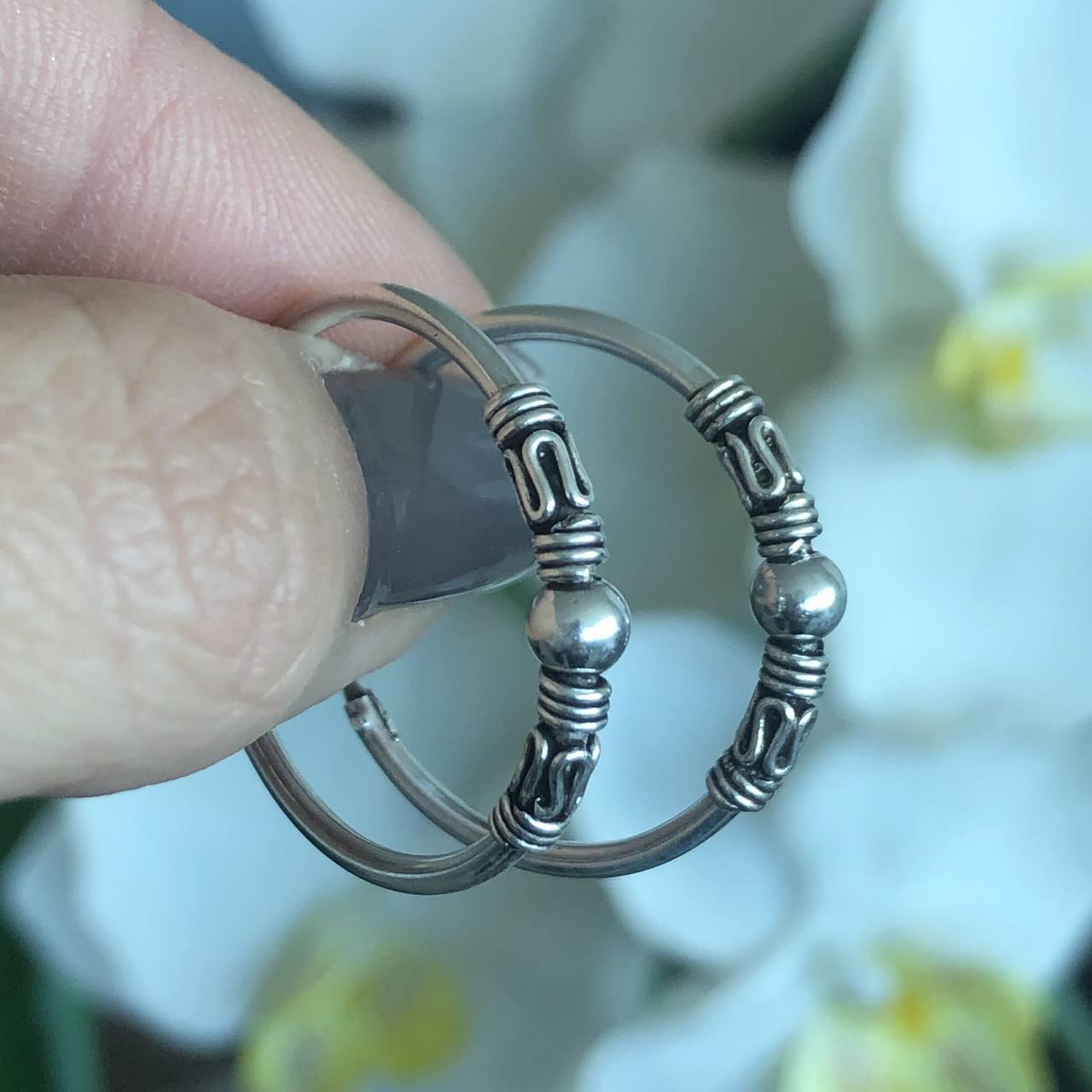 Brinco de Prata 925 Argolinha estilo Boho 2,5cm