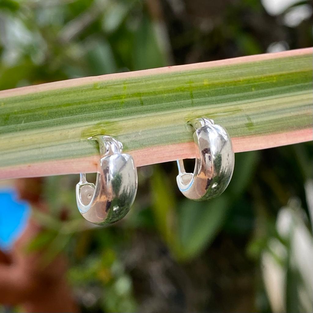 Brinco de Prata 925 Argolinha Fecho Encaixe 1,4cm