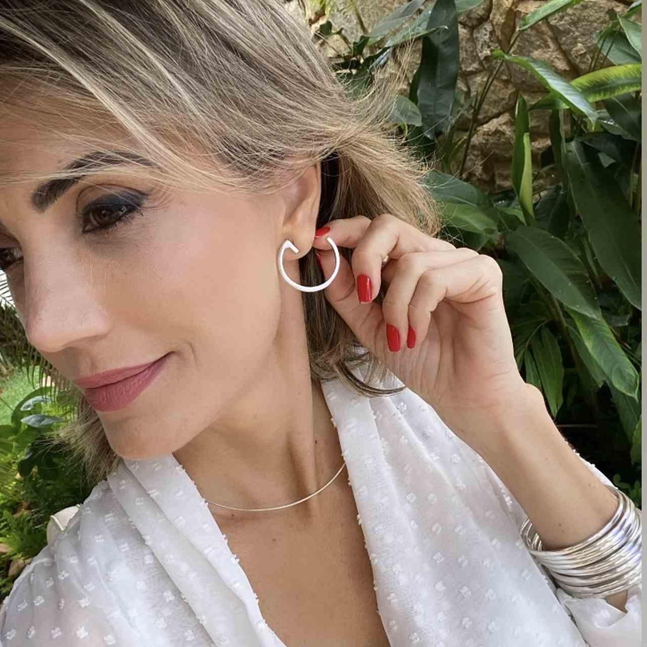 Brinco de Prata 925 Artena Argola Lisa Aberta 3cm