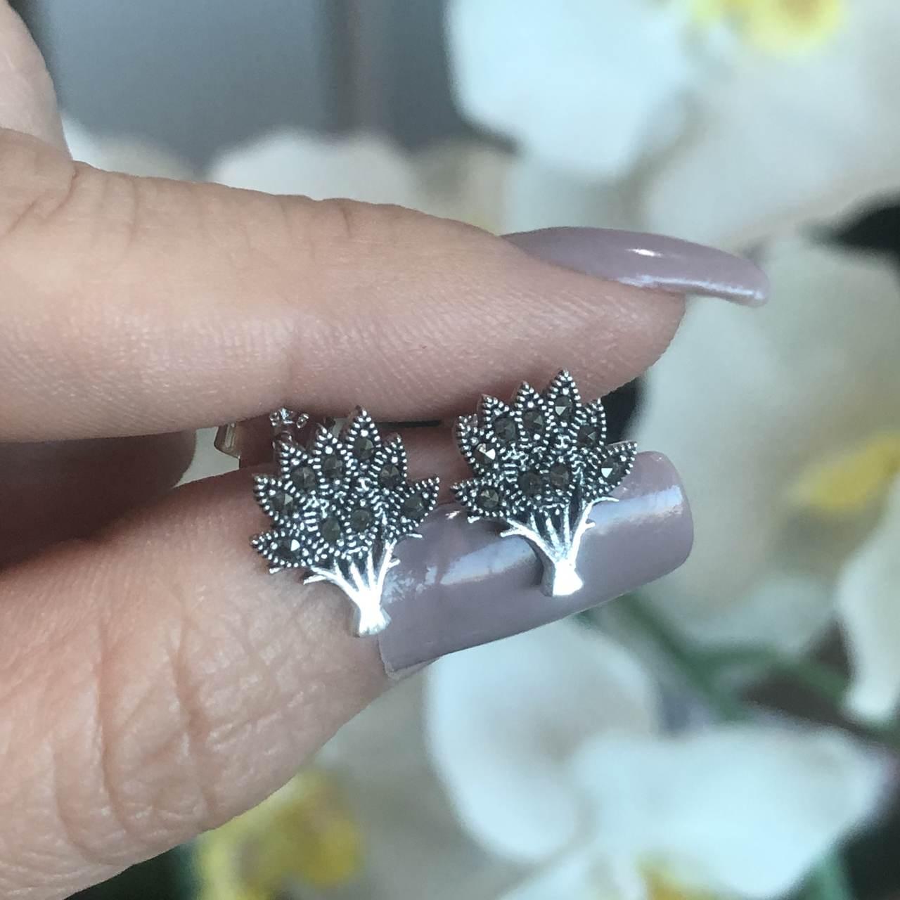 Brinco de Prata 925 Árvore da Vida com Marcassita