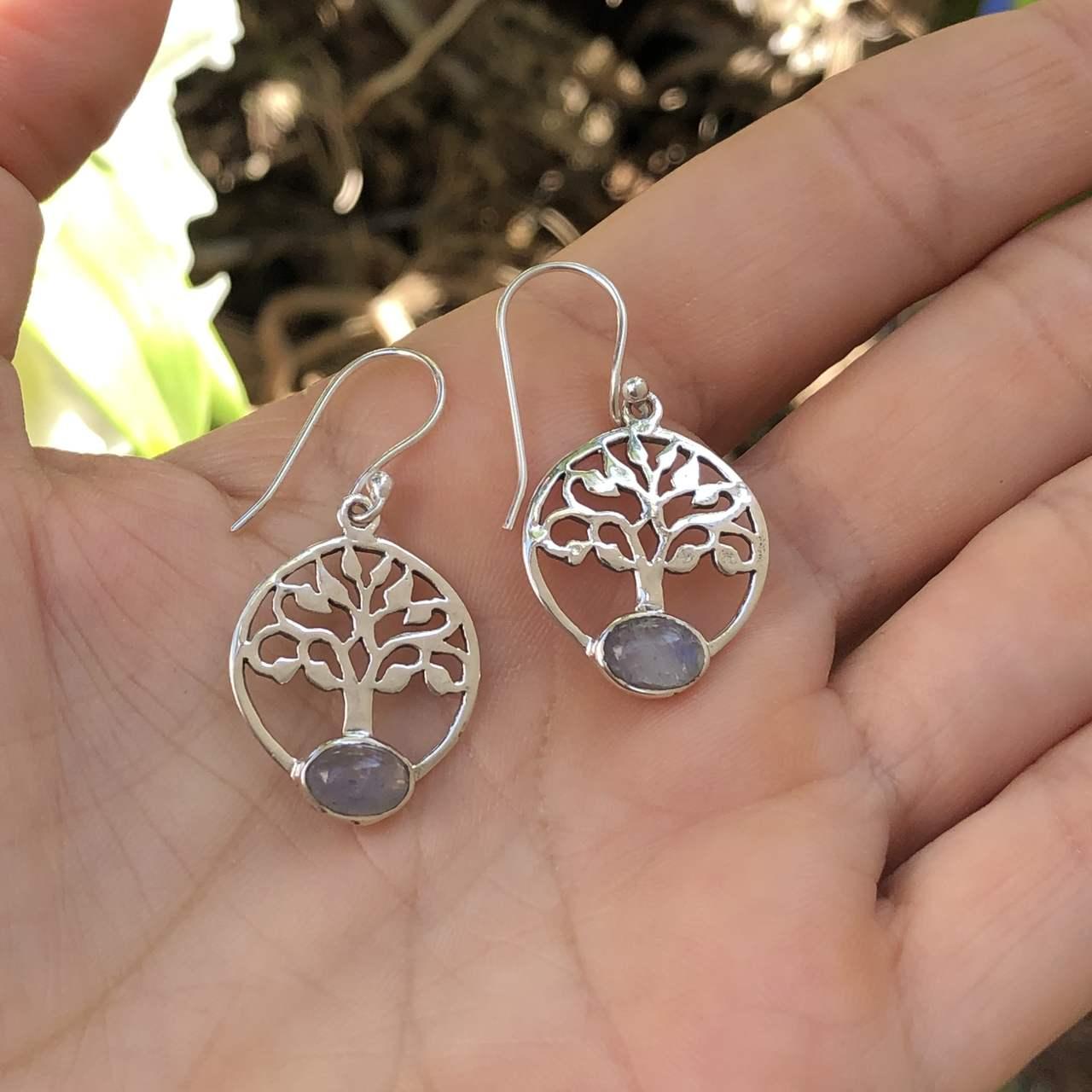 Brinco de Prata 925 Árvore da Vida e Pedra da Lua Gancho