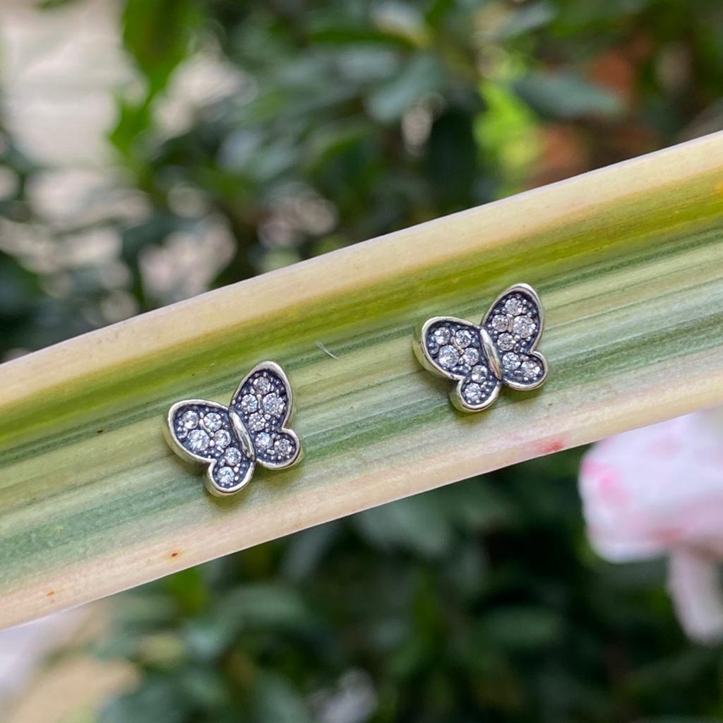 Brinco de Prata 925 Borboleta Cravação Zircônia Cristal