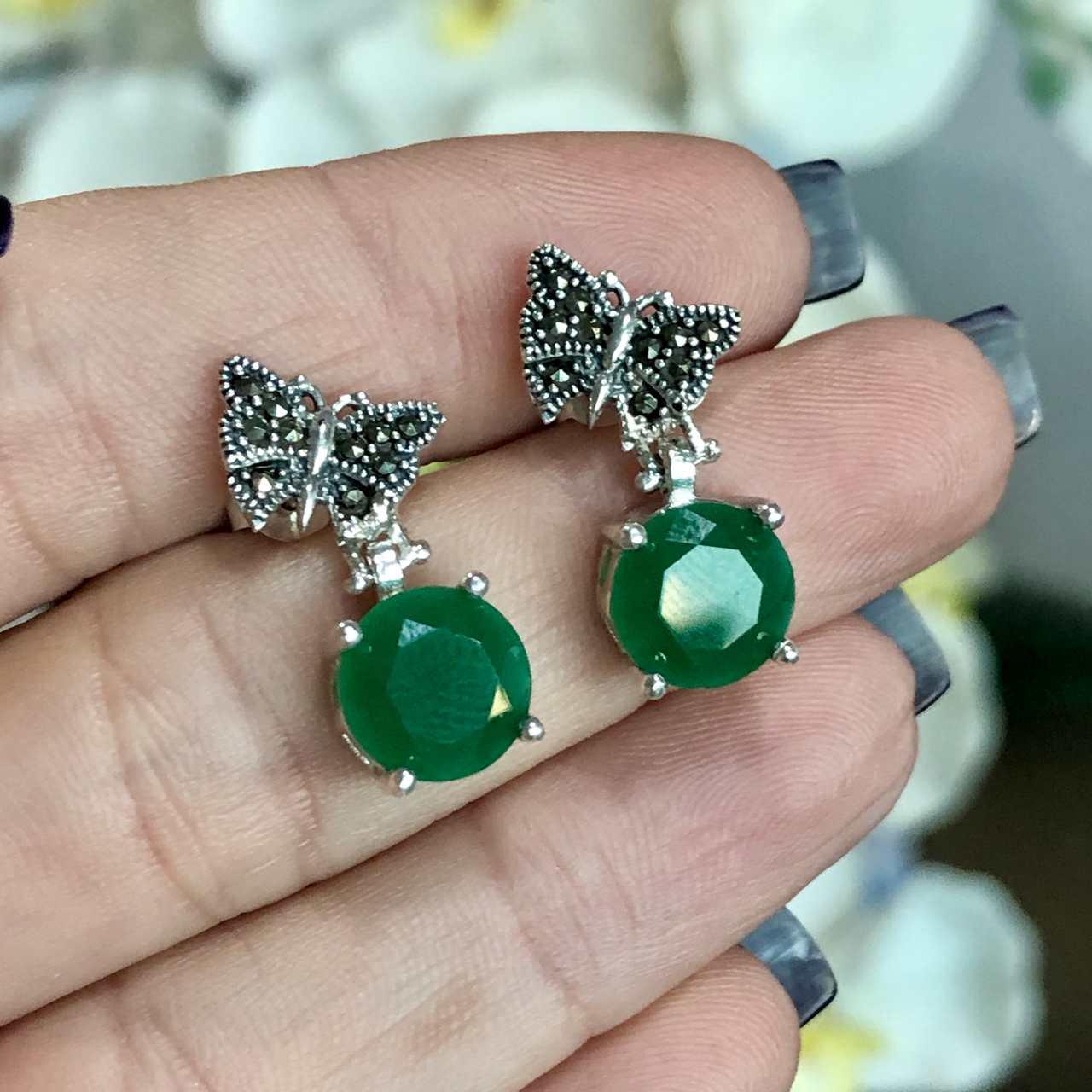 Brinco de Prata 925 Borboleta e Pedra Ágata Verde