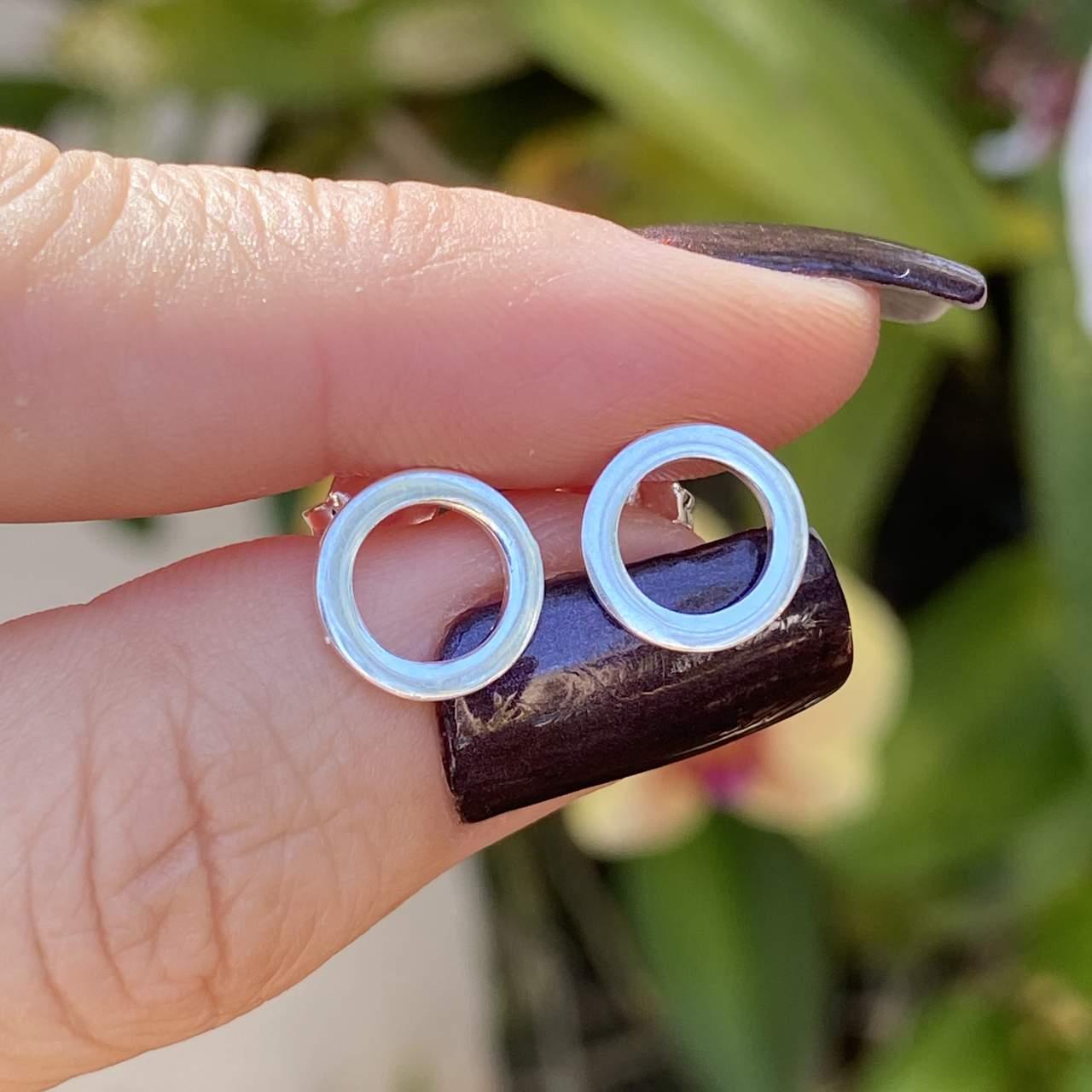 Brinco de Prata 925 Circulo Fio Quadrado 1cm