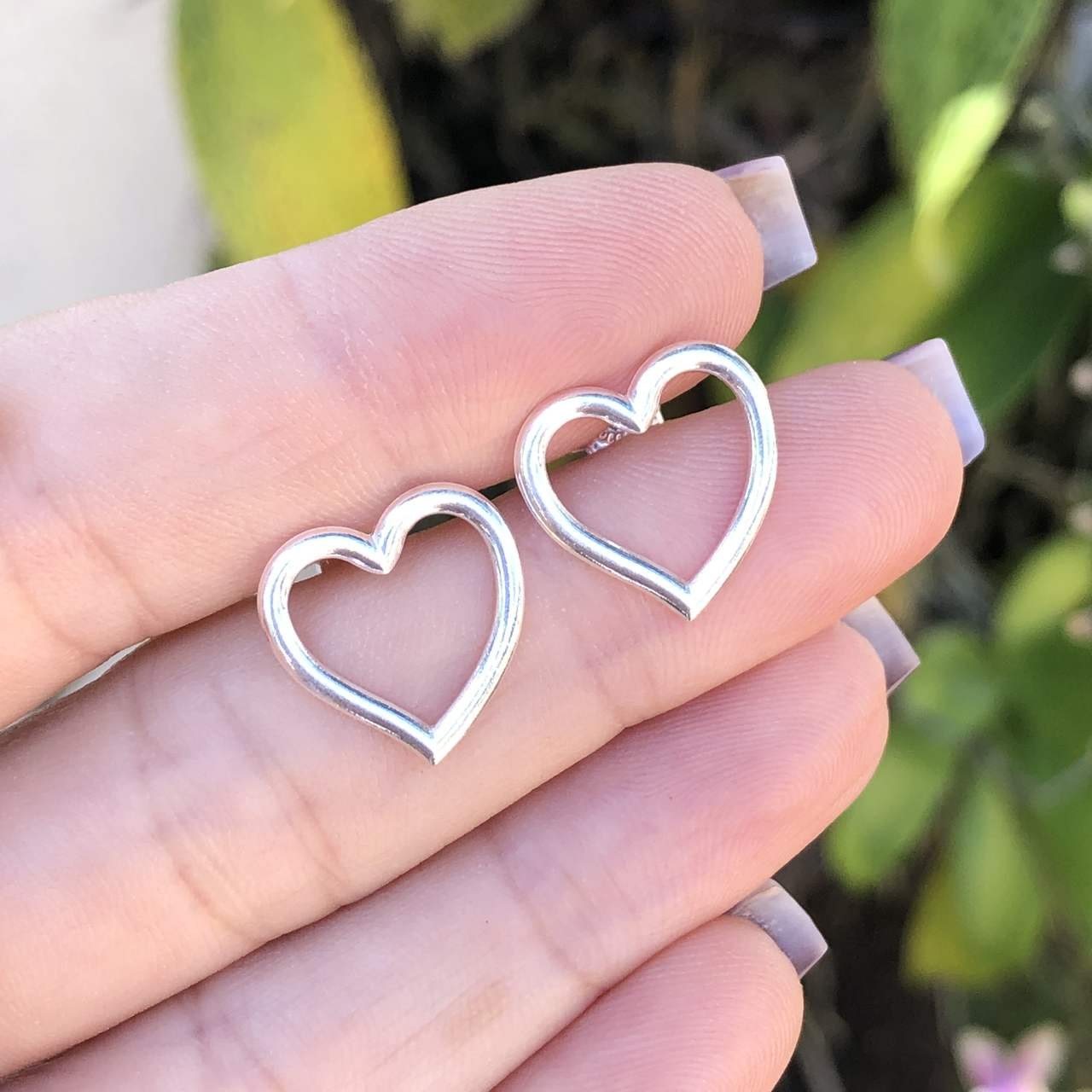Brinco de Prata 925 Coração Vazado