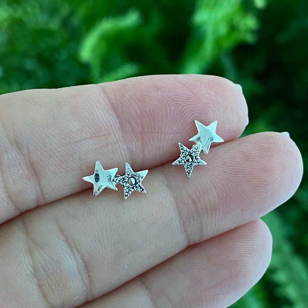 Brinco de Prata 925 Duas Estrelas