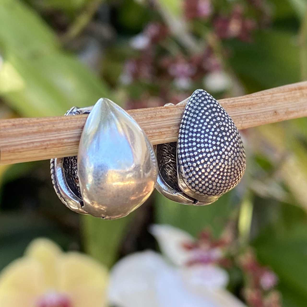 Brinco de Prata 925 Envelhecido Gota Fecho Clique