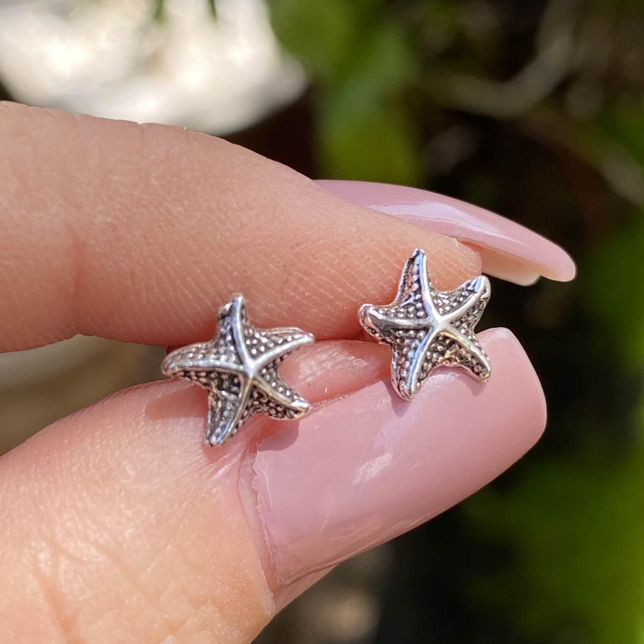 Brinco de Prata 925 Estrela do Mar Envelhecido