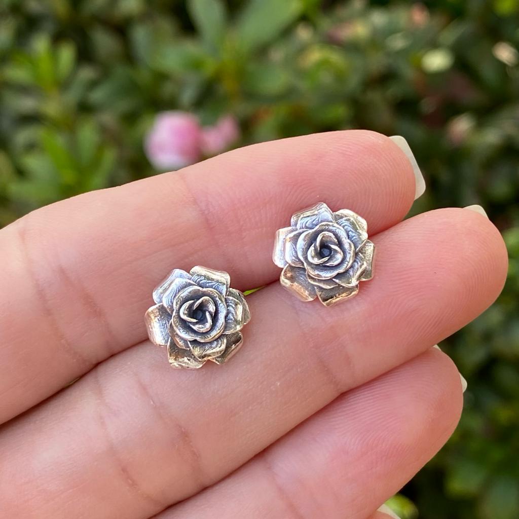Brinco de Prata 925 Flor Envelhecida