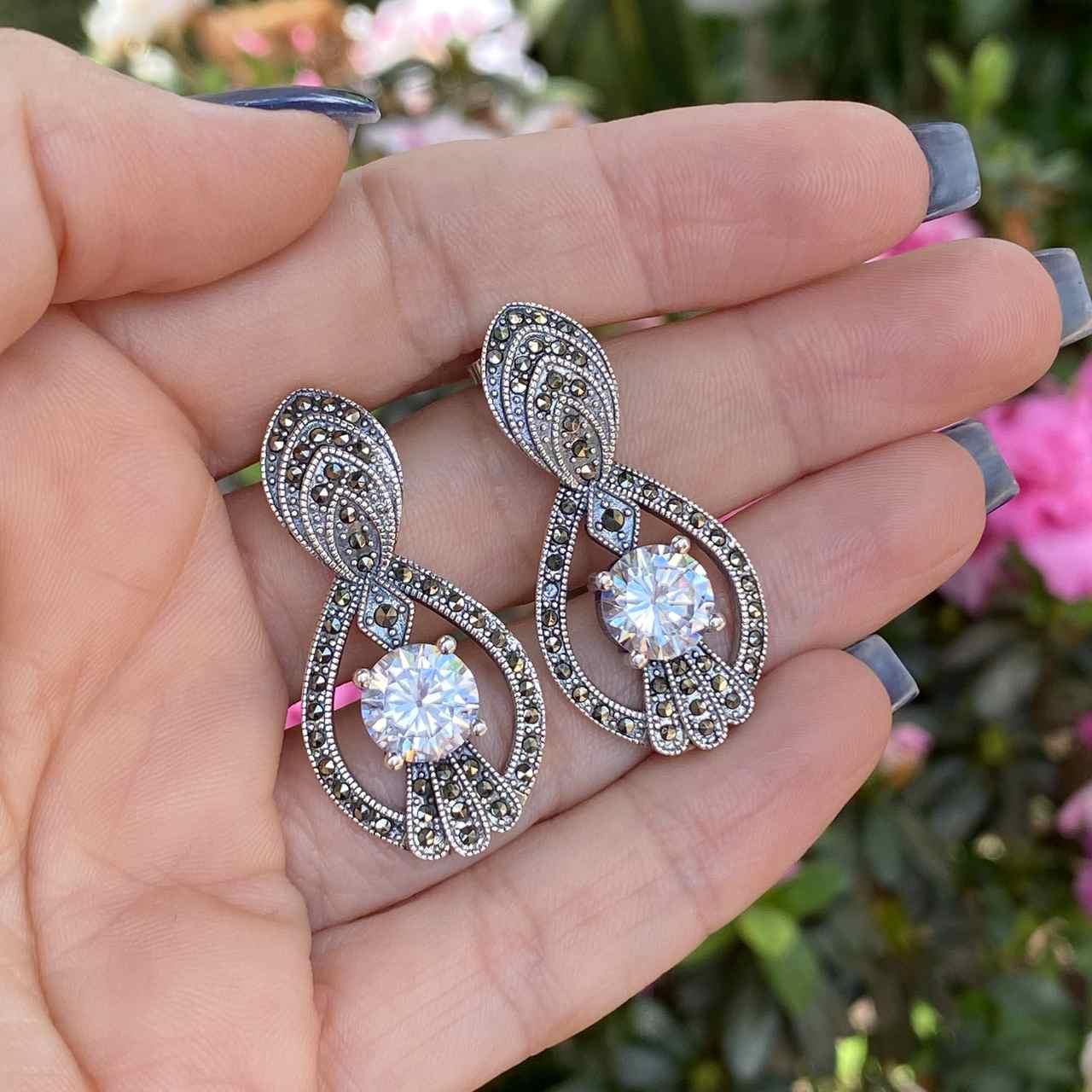 Brinco de Prata 925 Oval Luxo Marcassita e Zircônia Cristal