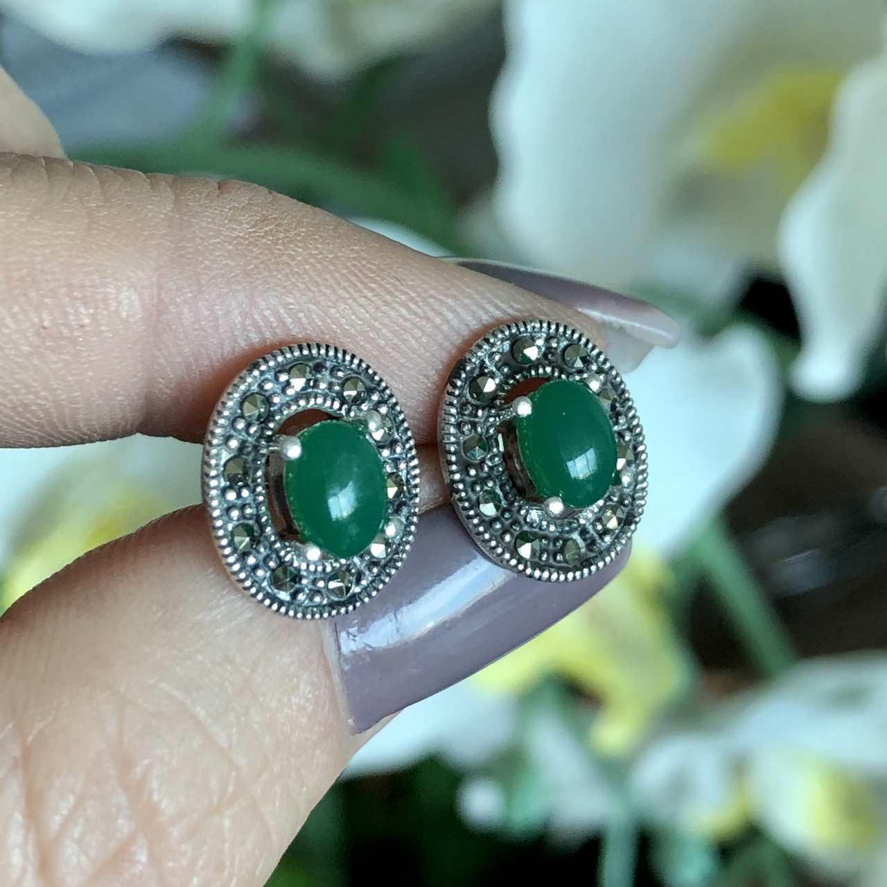 Brinco de Prata 925 Oval Pedra Ágata Verde