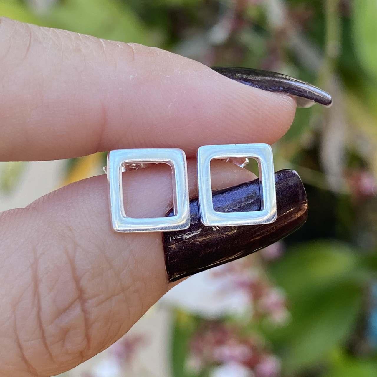 Brinco de Prata 925 Quadrado 1cm