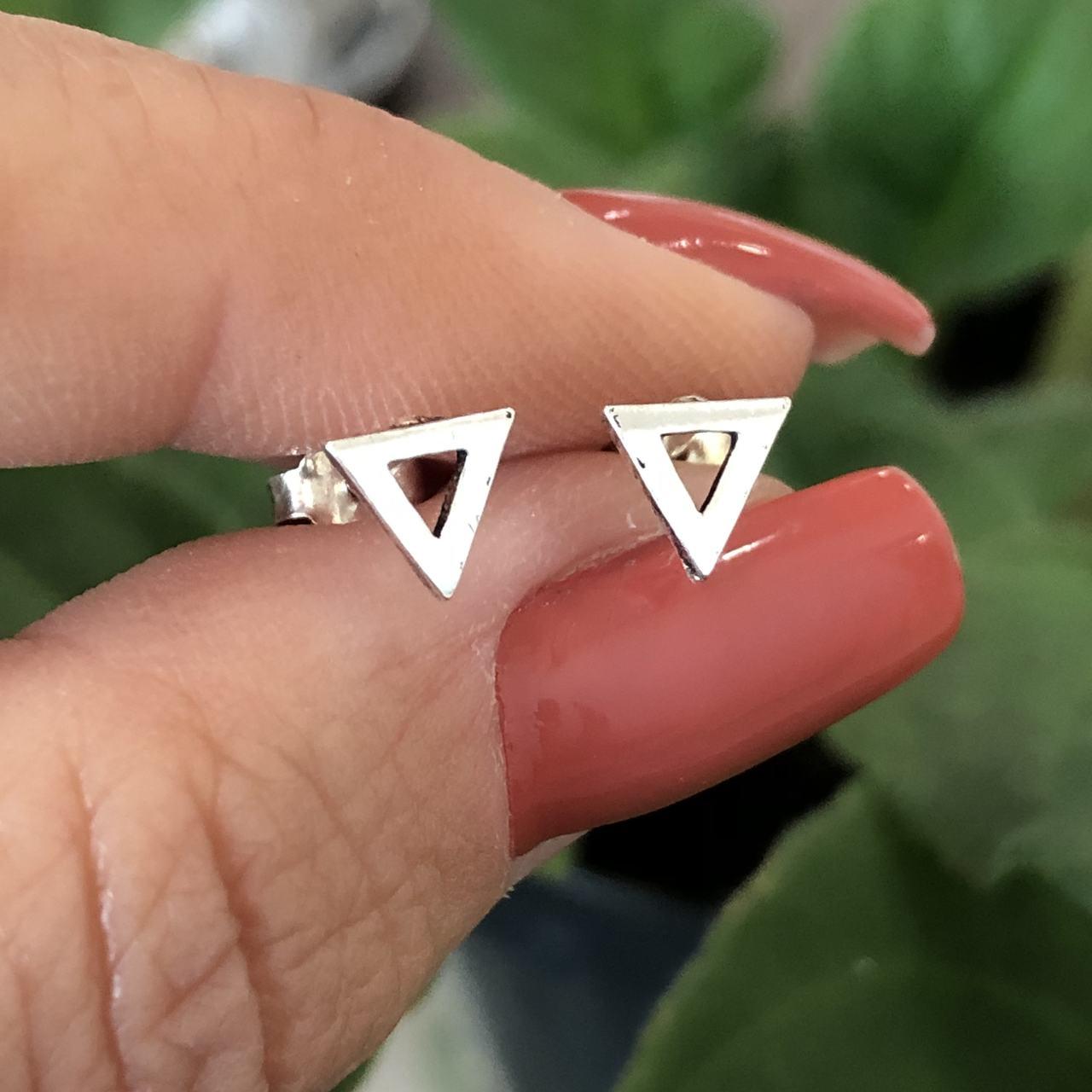 Brinco de Prata 925 segundo furo triângulo
