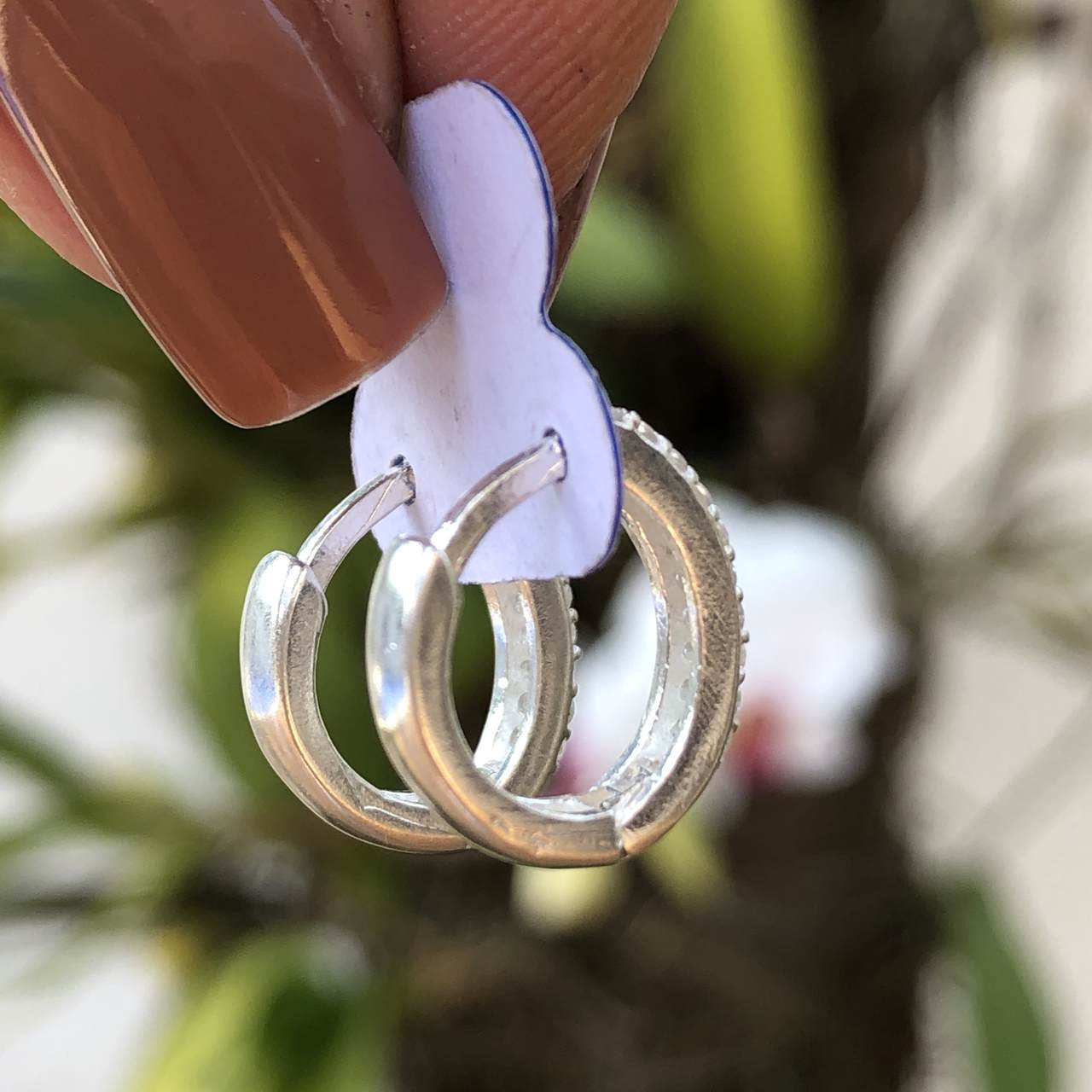 Brinco de Prata Argolinha Cravejada 2 fileiras 1,2cm