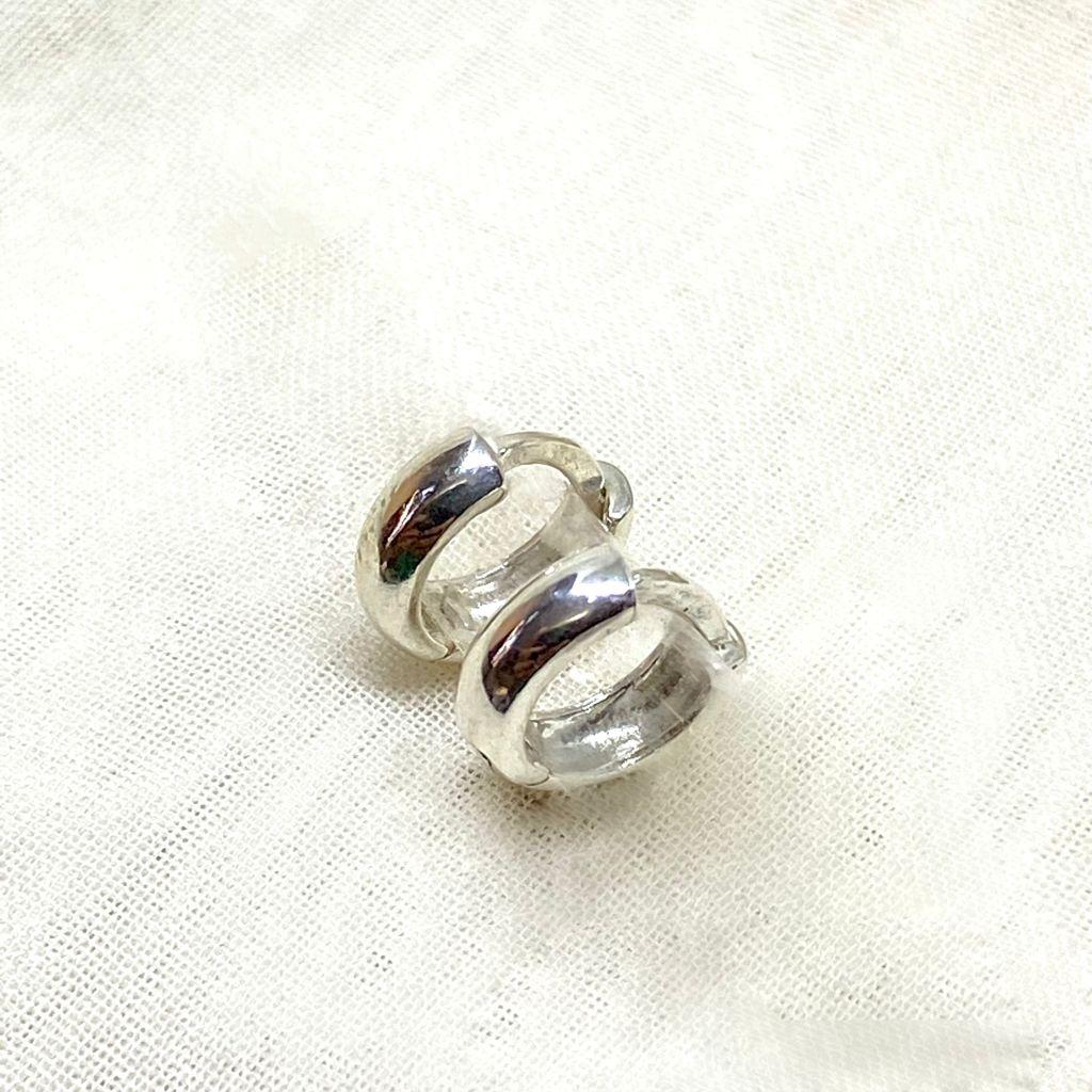 Brinco Prata 925 Argolinha Abaulada G 1,3cm
