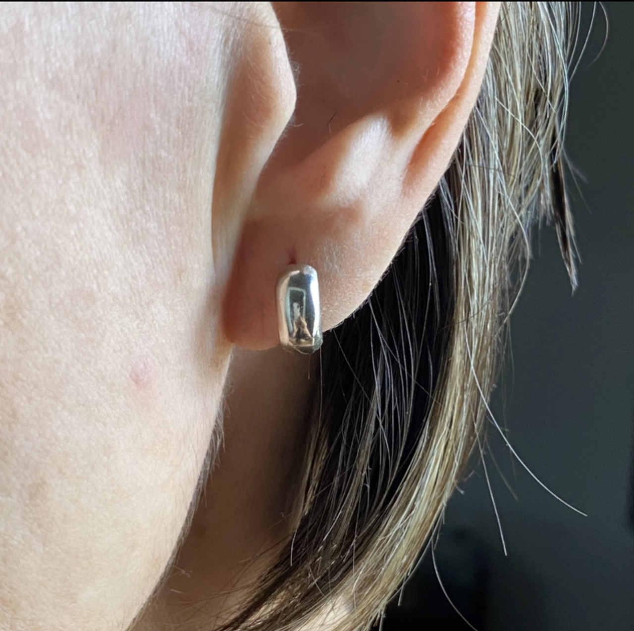Brinco Prata 925 Argolinha Abaulada M 1cm