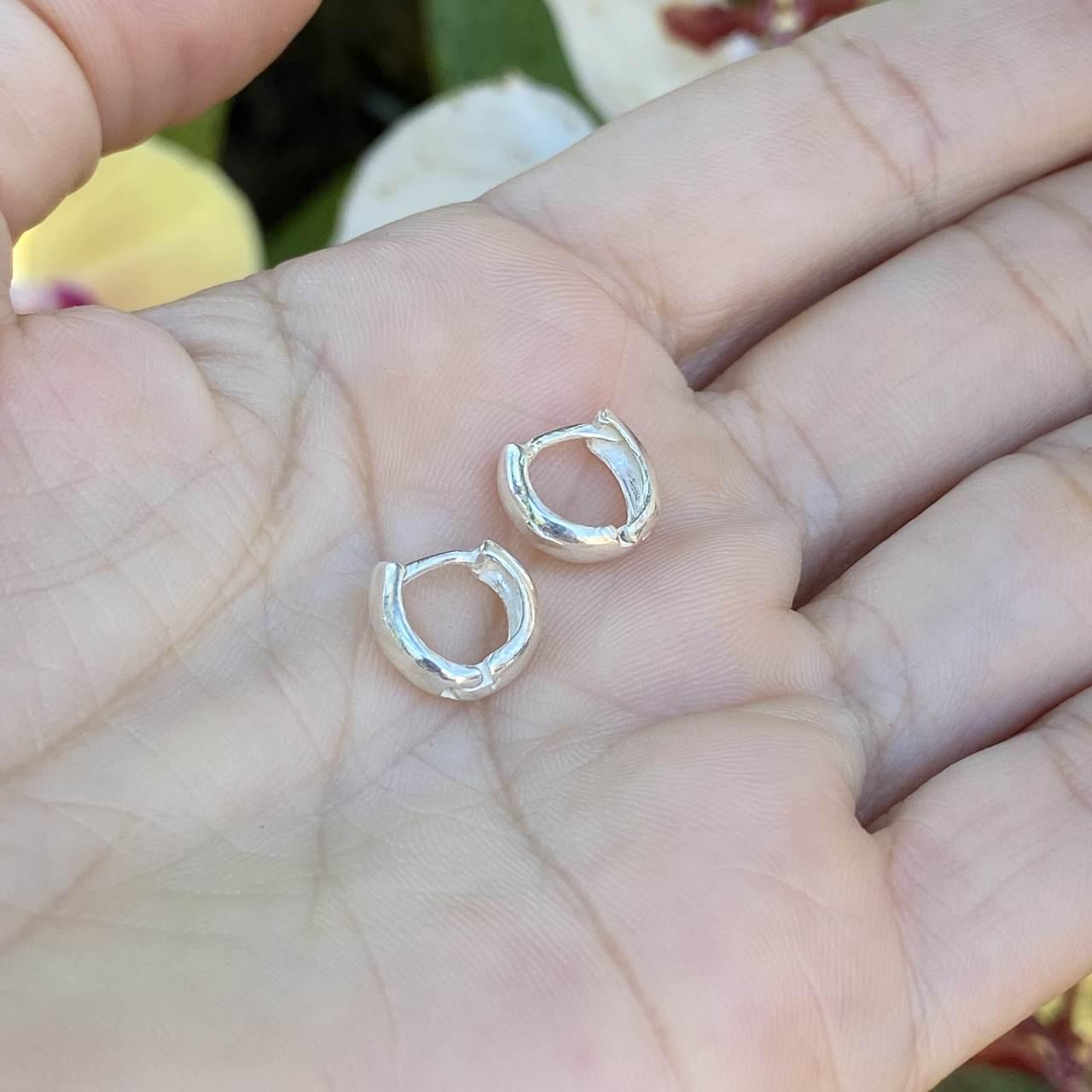 Brinco Prata 925 Argolinha Abaulada P 0,9cm