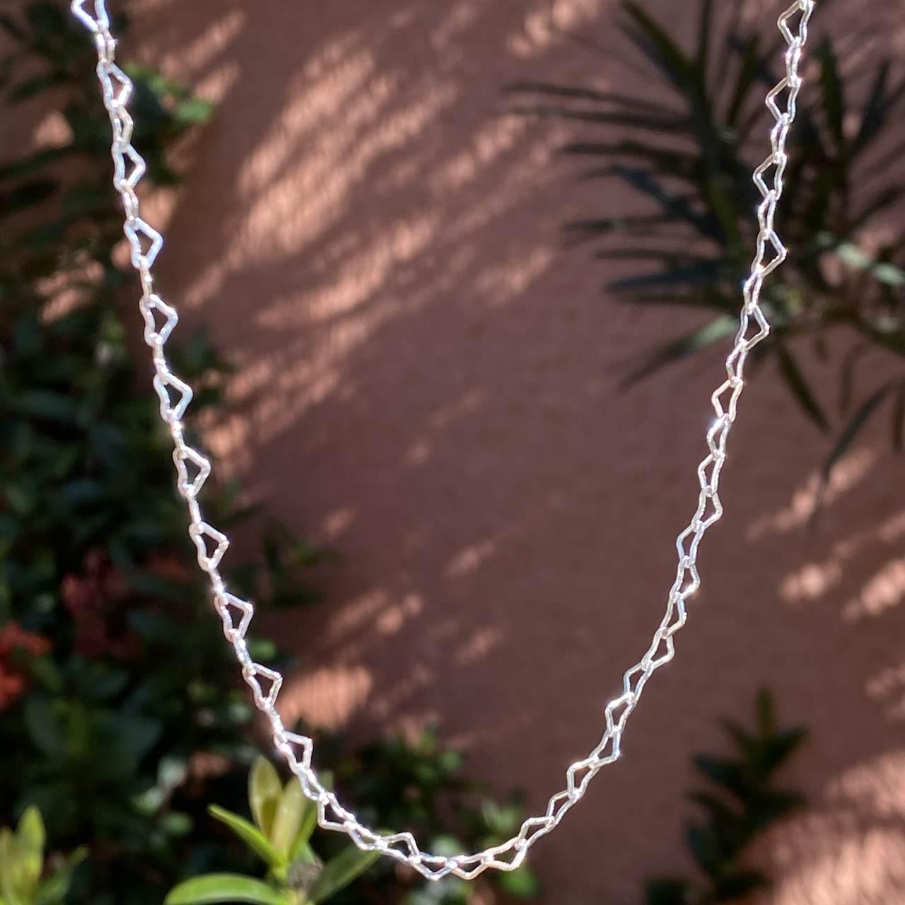 Choker de Prata 925 Corrente de Coração 45cm