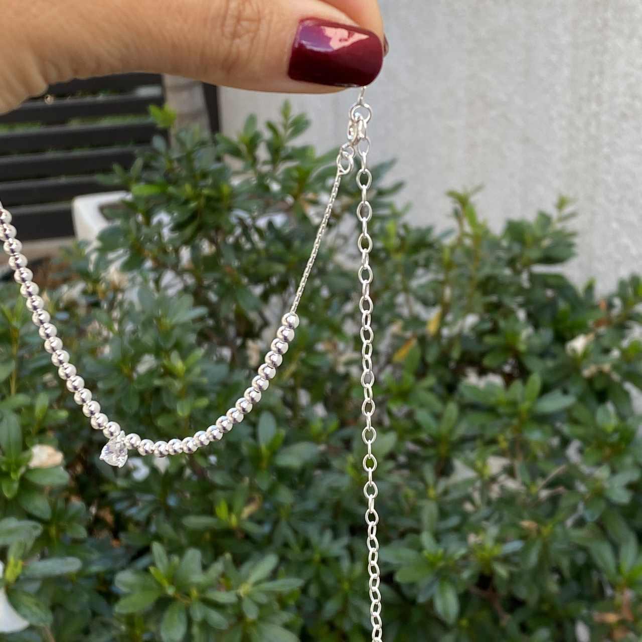 Colar de Prata 925 Choker Bolinhas e Zircônia Cristal