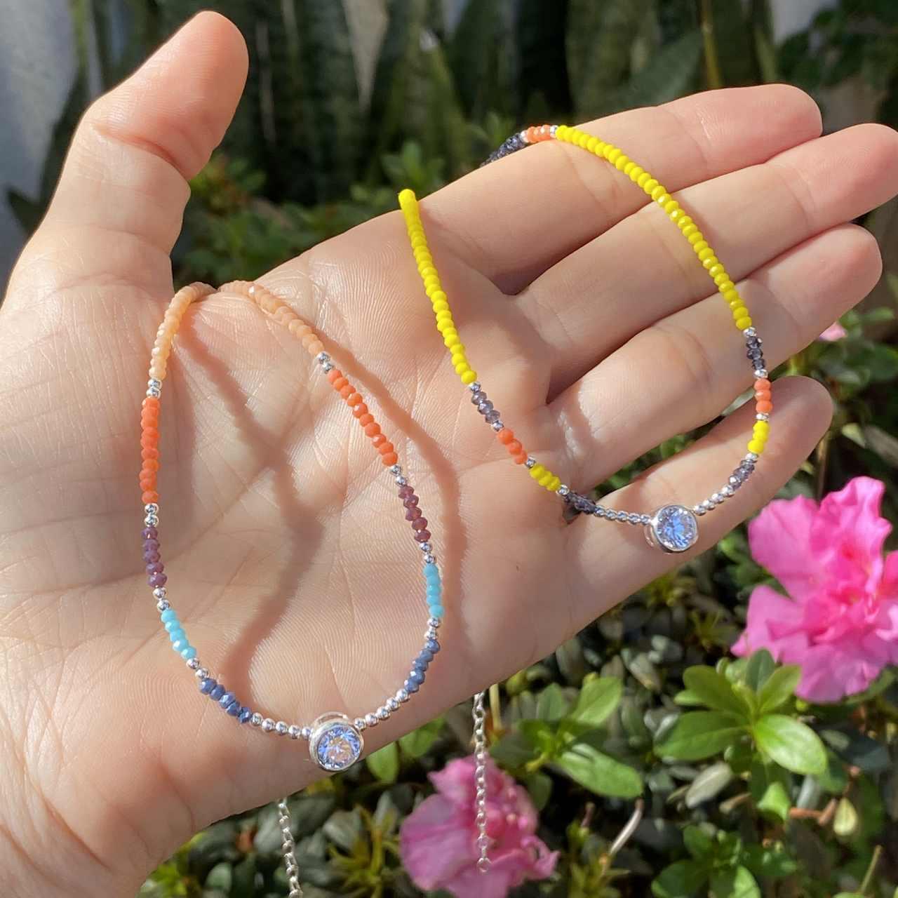 Colar de Prata 925 Choker Cristais Multicolorido 45cm