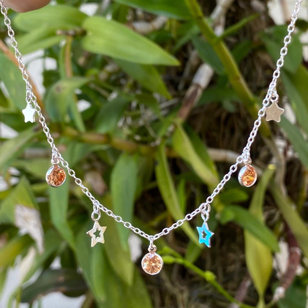 Colar de Prata 925 Choker Estrela e Ponto de Luz Colorido