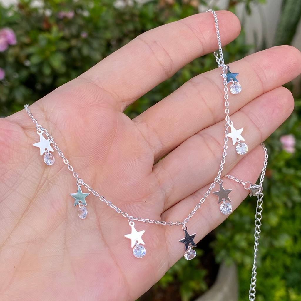 Colar de Prata 925 Choker Estrelas com Ponto de Luz Redondo