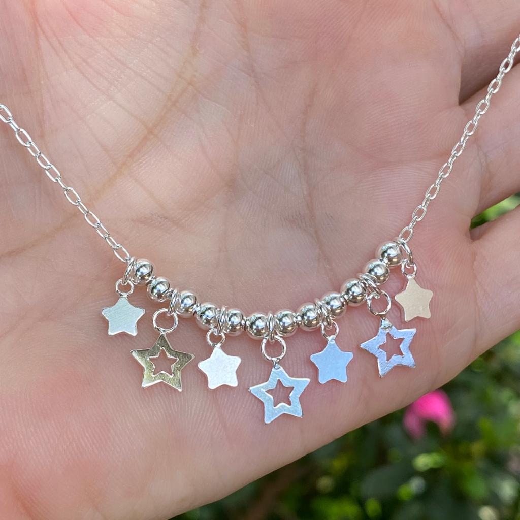 Colar de Prata 925 Choker Estrelas e Bolinhas