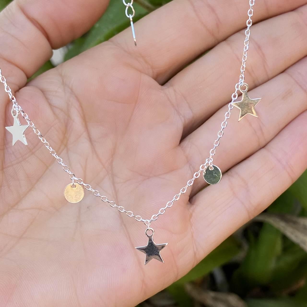 Colar de Prata 925 Choker Estrelas e Circulo
