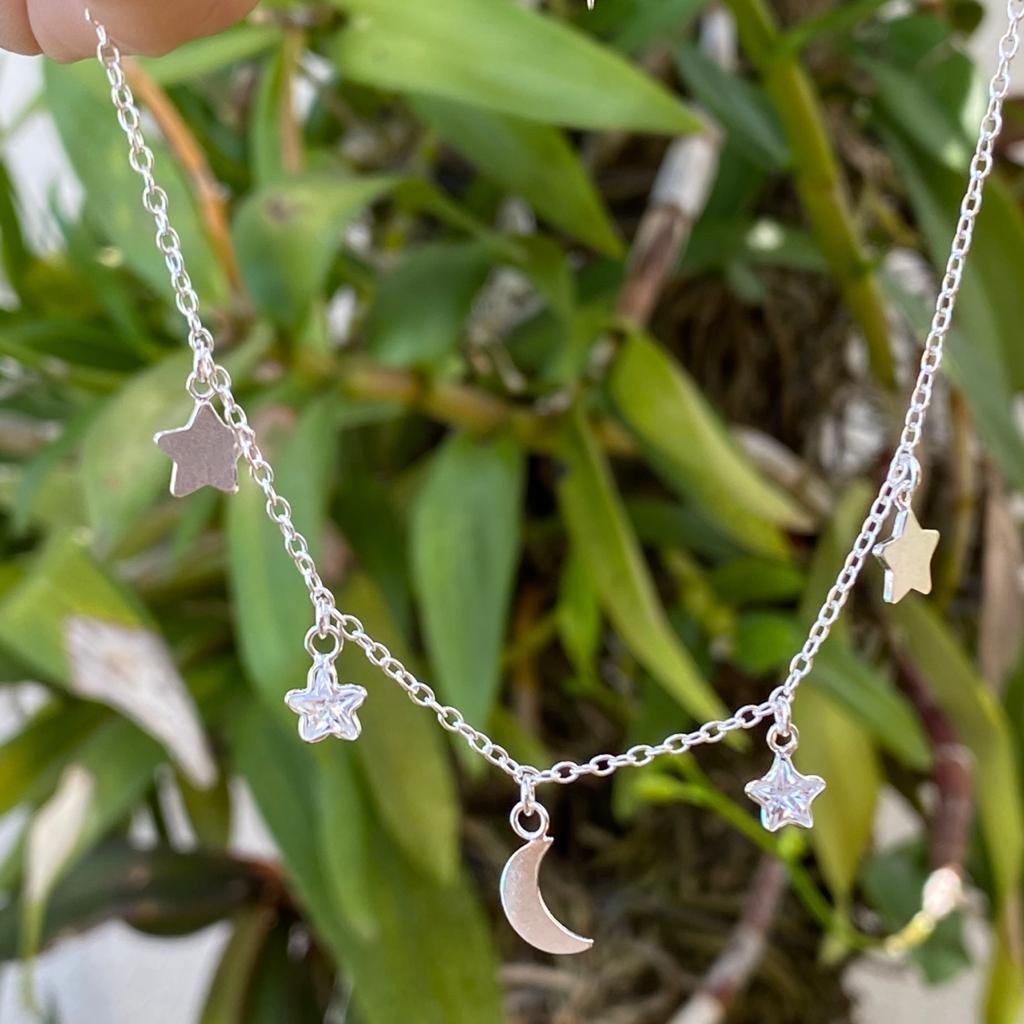 Colar de Prata 925 Choker Lua, Estrela Ponto de Luz