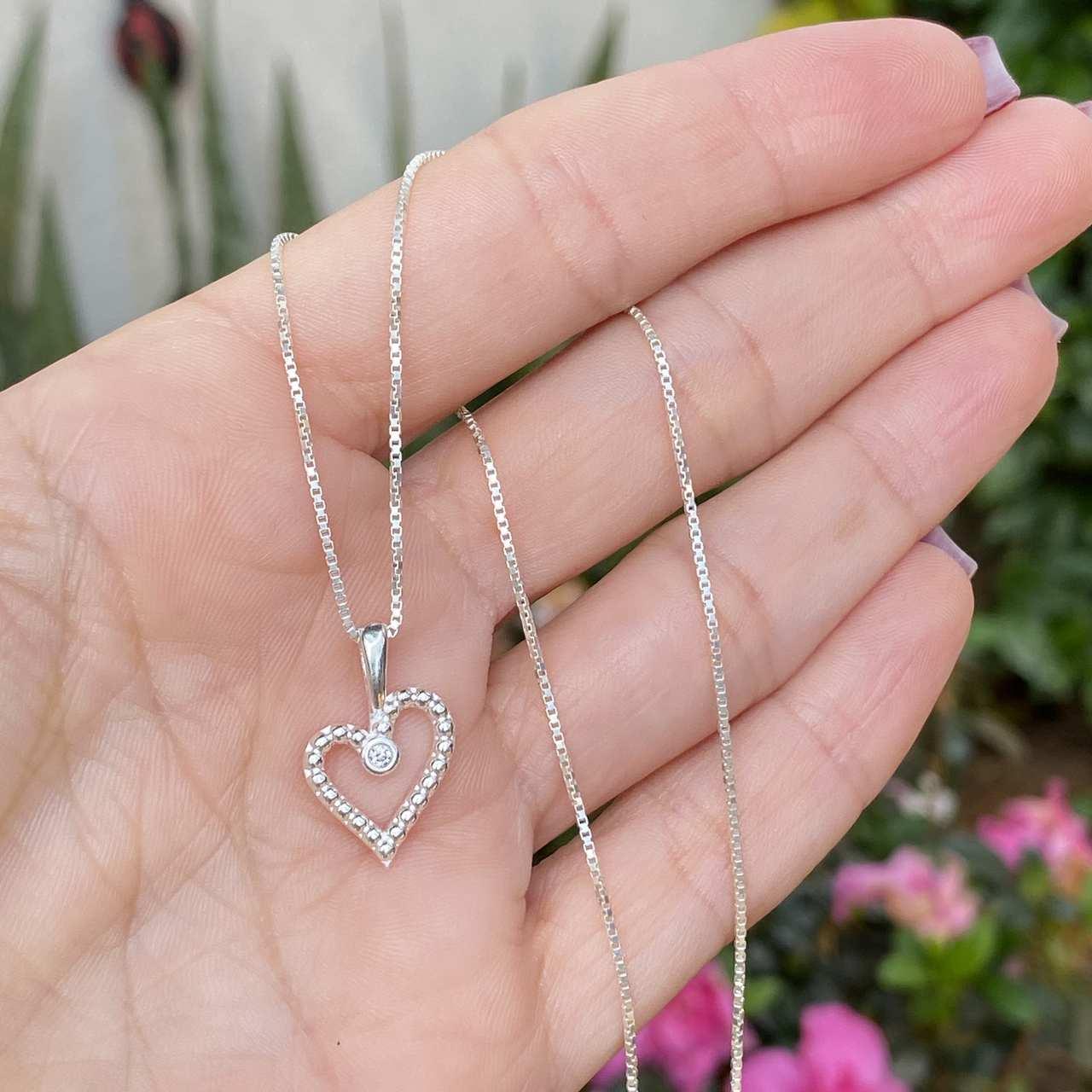 Colar de Prata 925 Coração Bolinha Vazado Zircônia Cristal