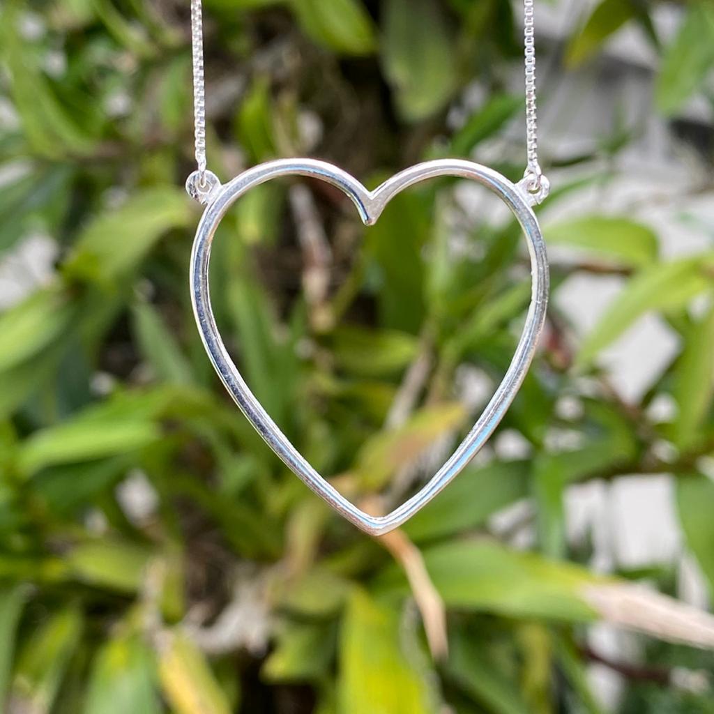 Colar de Prata 925 Coração Vazado 3,5cm