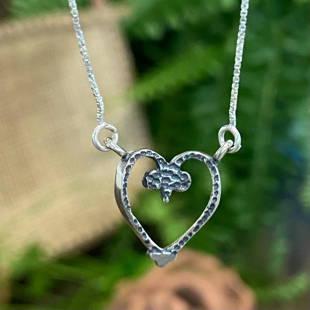 Colar de Prata 925 Coração Vazado Envelhecido Boho 1,5cm