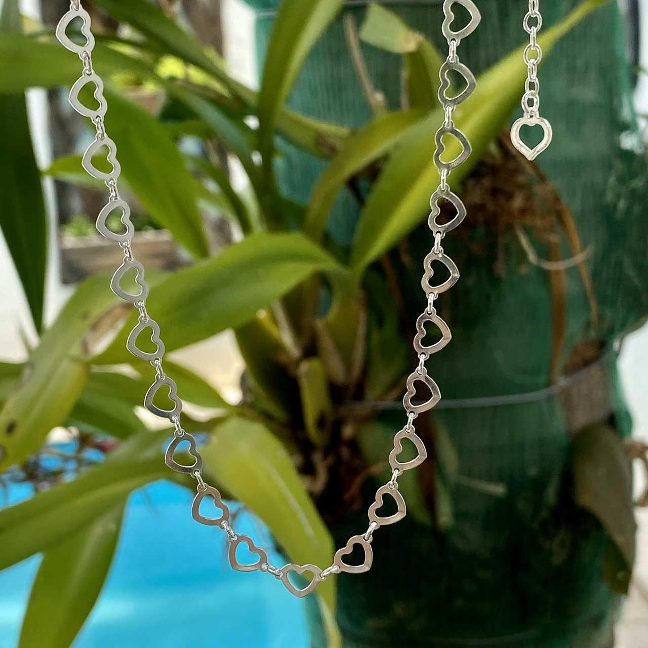 Colar de Prata 925 Elos de Coração Médio 45cm