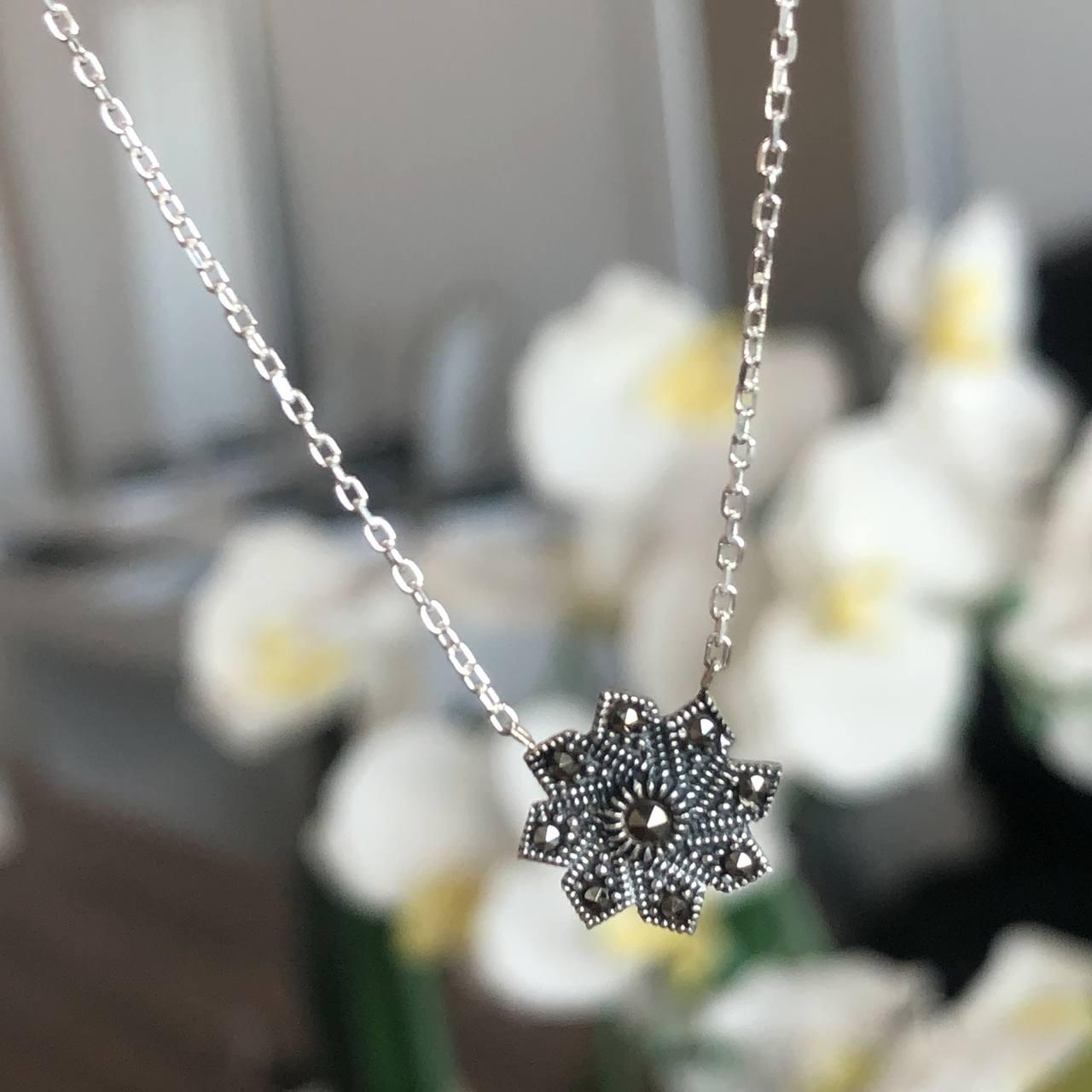 Colar de prata 925 gargantilha flor marcassita
