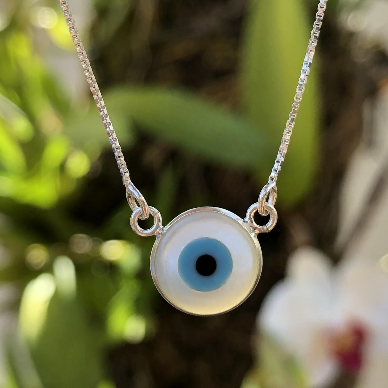 Colar de Prata 925 Gargantilha Olho Grego Pequeno 1cm